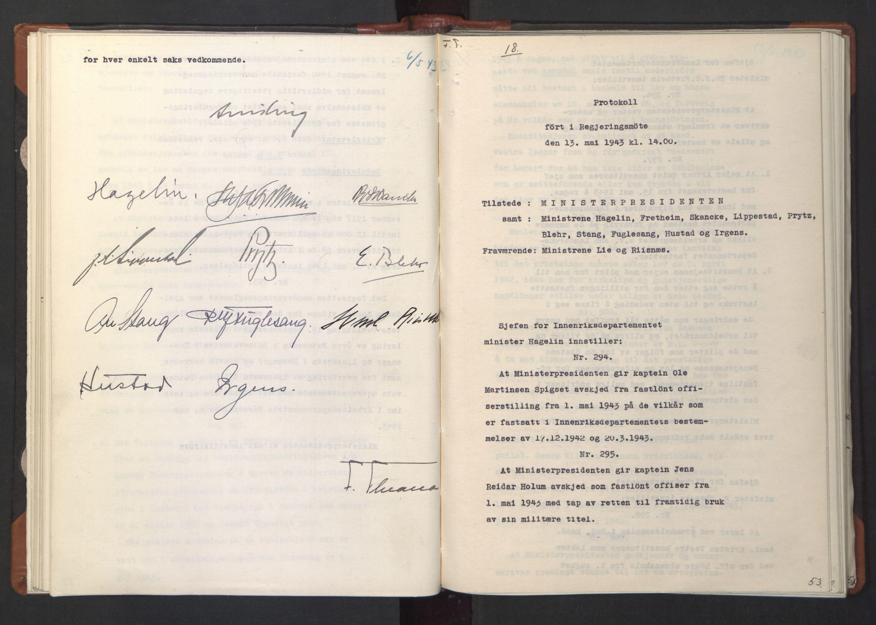 RA, NS-administrasjonen 1940-1945 (Statsrådsekretariatet, de kommisariske statsråder mm), D/Da/L0003: Vedtak (Beslutninger) nr. 1-746 og tillegg nr. 1-47 (RA. j.nr. 1394/1944, tilgangsnr. 8/1944, 1943, s. 52b-53a