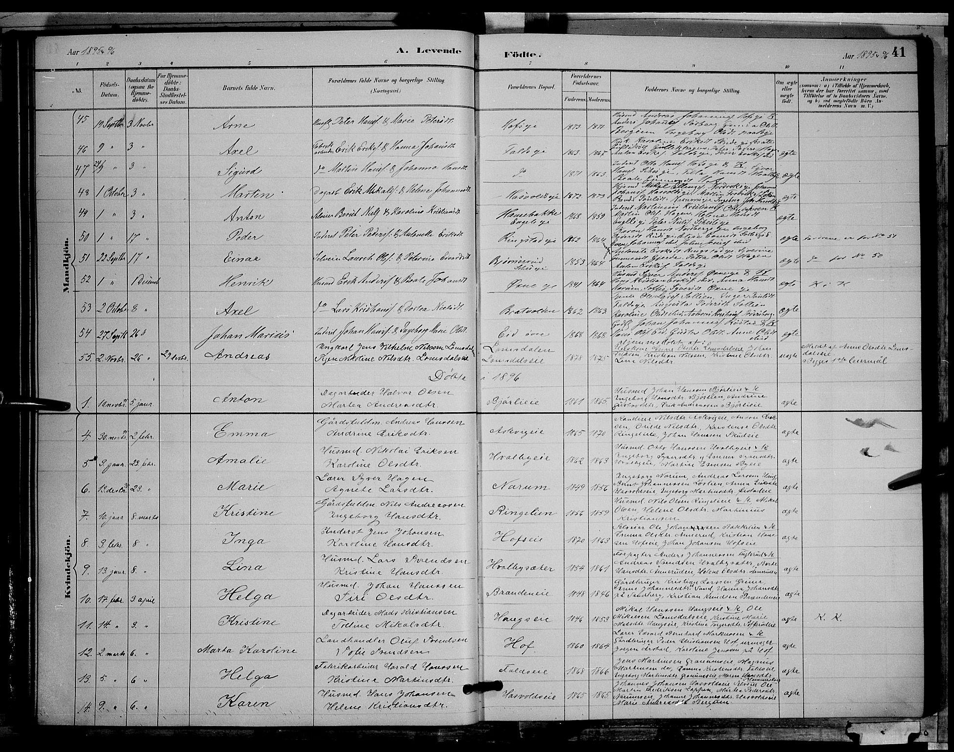 SAH, Søndre Land prestekontor, L/L0002: Klokkerbok nr. 2, 1884-1900, s. 41