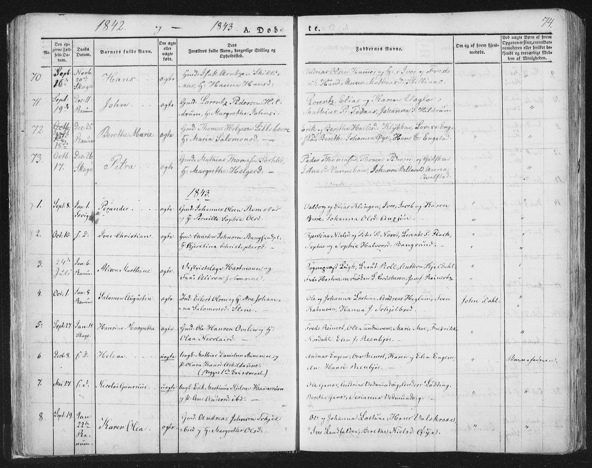 SAT, Ministerialprotokoller, klokkerbøker og fødselsregistre - Nord-Trøndelag, 764/L0551: Ministerialbok nr. 764A07a, 1824-1864, s. 74