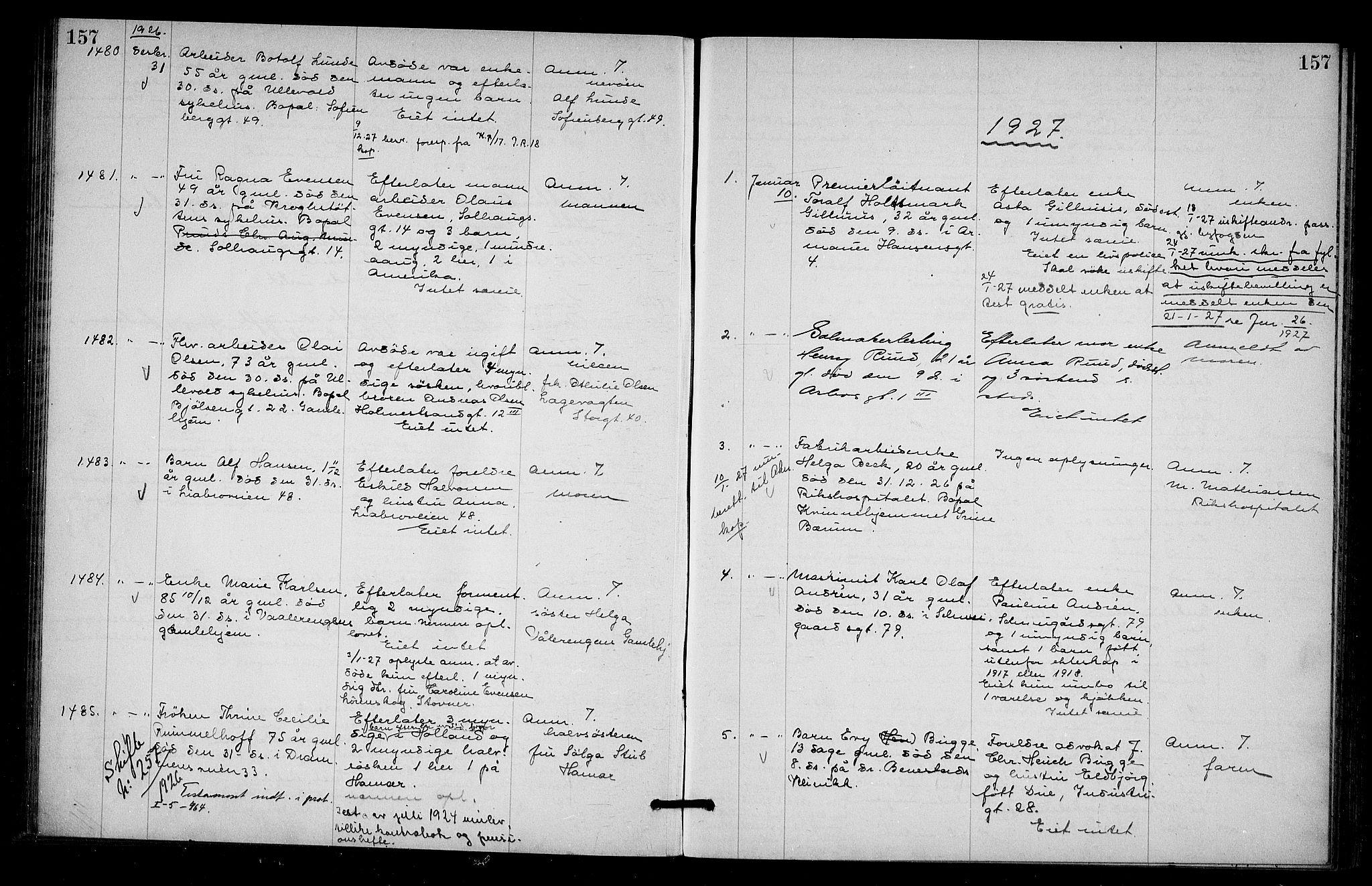 SAO, Oslo skifterett, G/Ga/Gab/L0014: Dødsfallsprotokoll, 1925-1927, s. 157