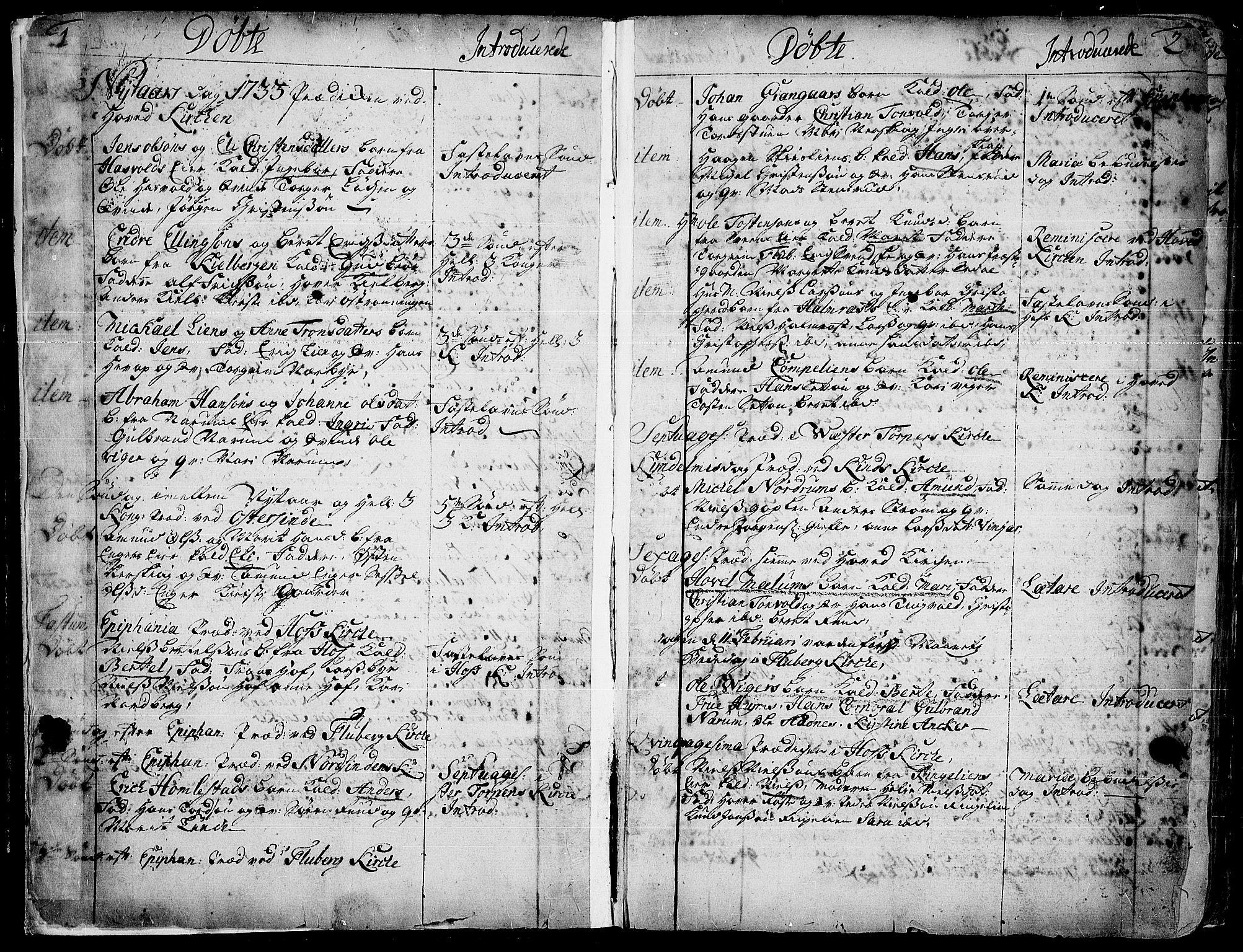 SAH, Land prestekontor, Ministerialbok nr. 2, 1733-1764, s. 1-2