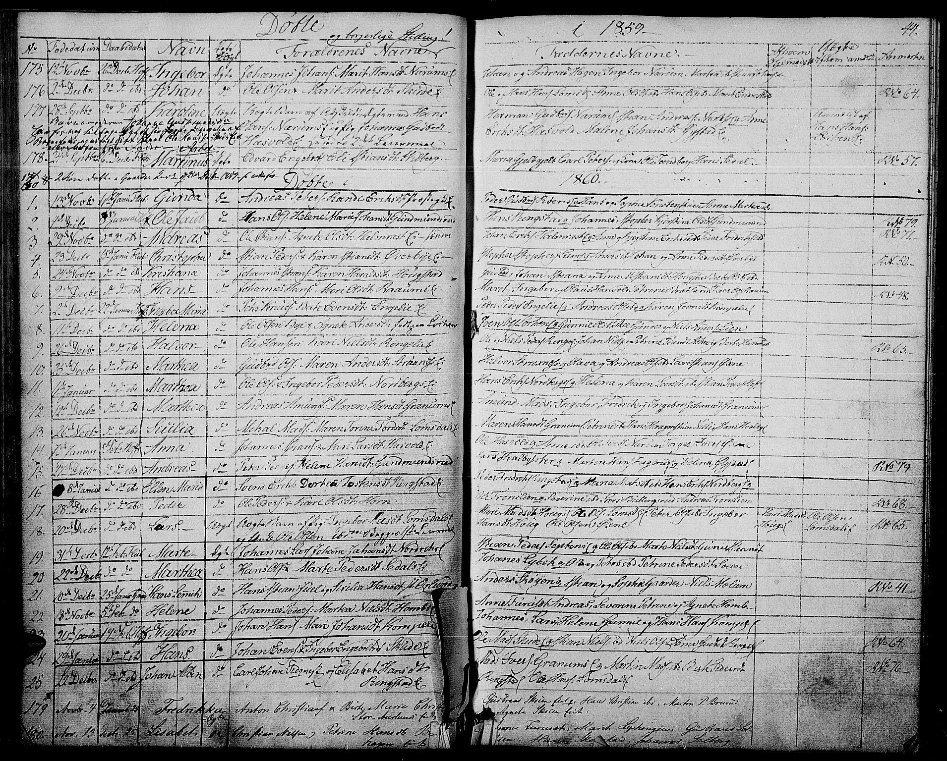 SAH, Søndre Land prestekontor, L/L0001: Klokkerbok nr. 1, 1849-1883, s. 44