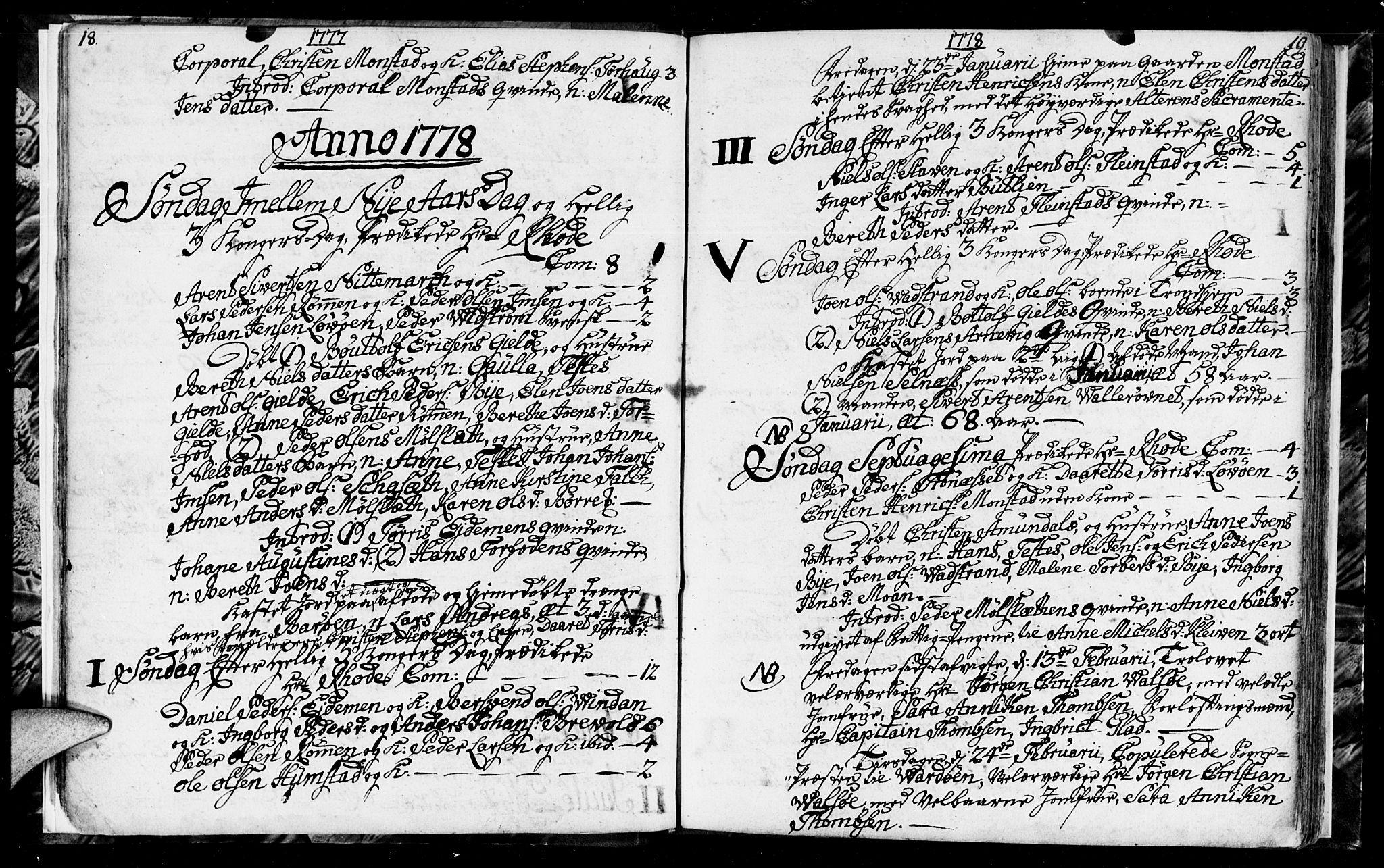 SAT, Ministerialprotokoller, klokkerbøker og fødselsregistre - Sør-Trøndelag, 655/L0685: Klokkerbok nr. 655C01, 1777-1788, s. 18-19