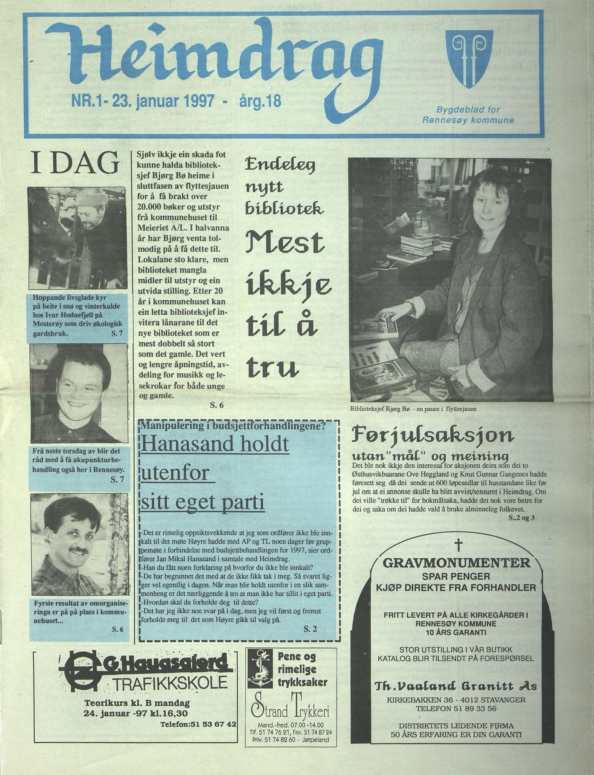 BYST, Rennesøy kommune. Heimdrag, lokalavis, X/Xa/L0019: Heimdrag 1997, 1997