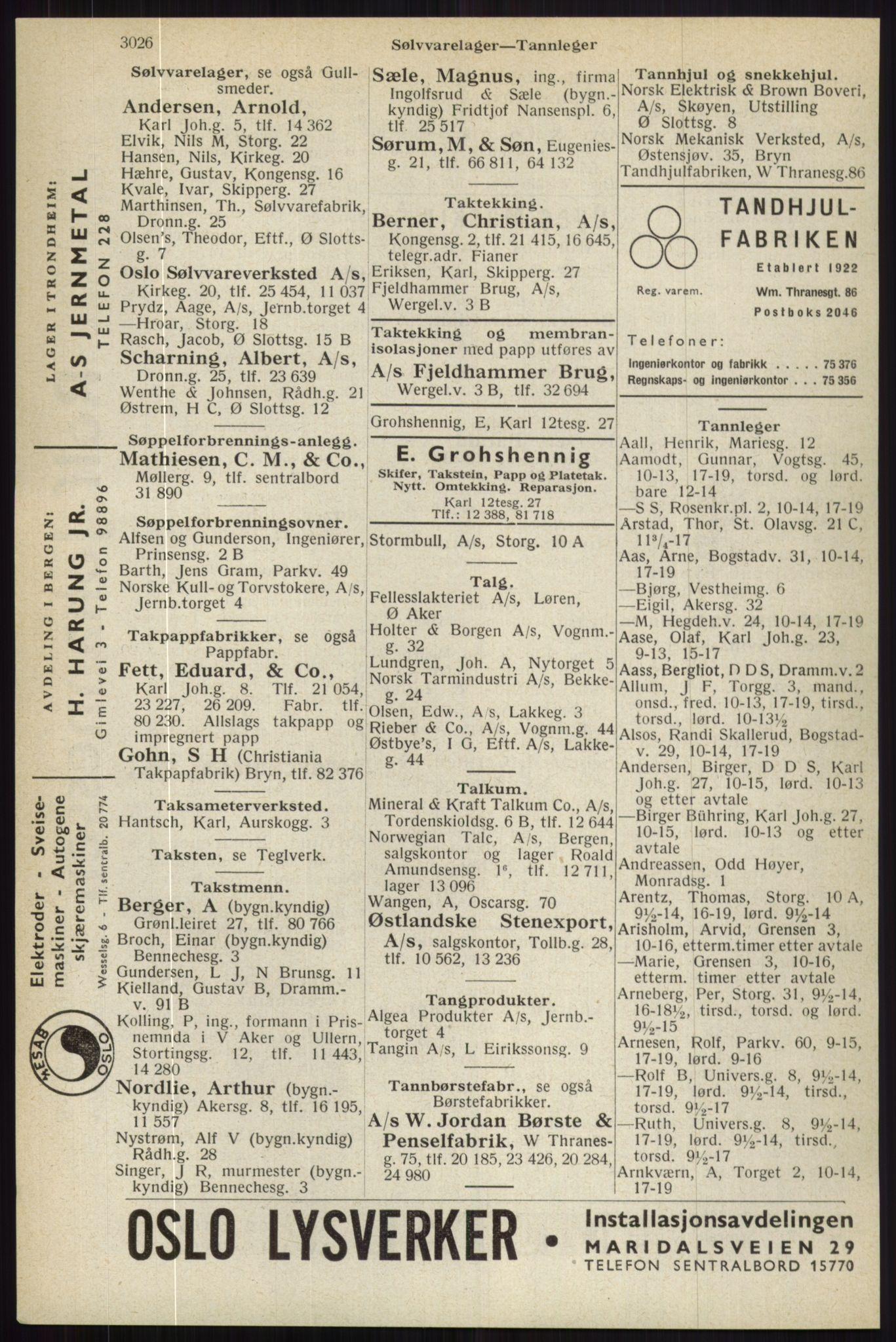 RA, Oslo adressebok (publikasjon)*, 1944, s. 3026
