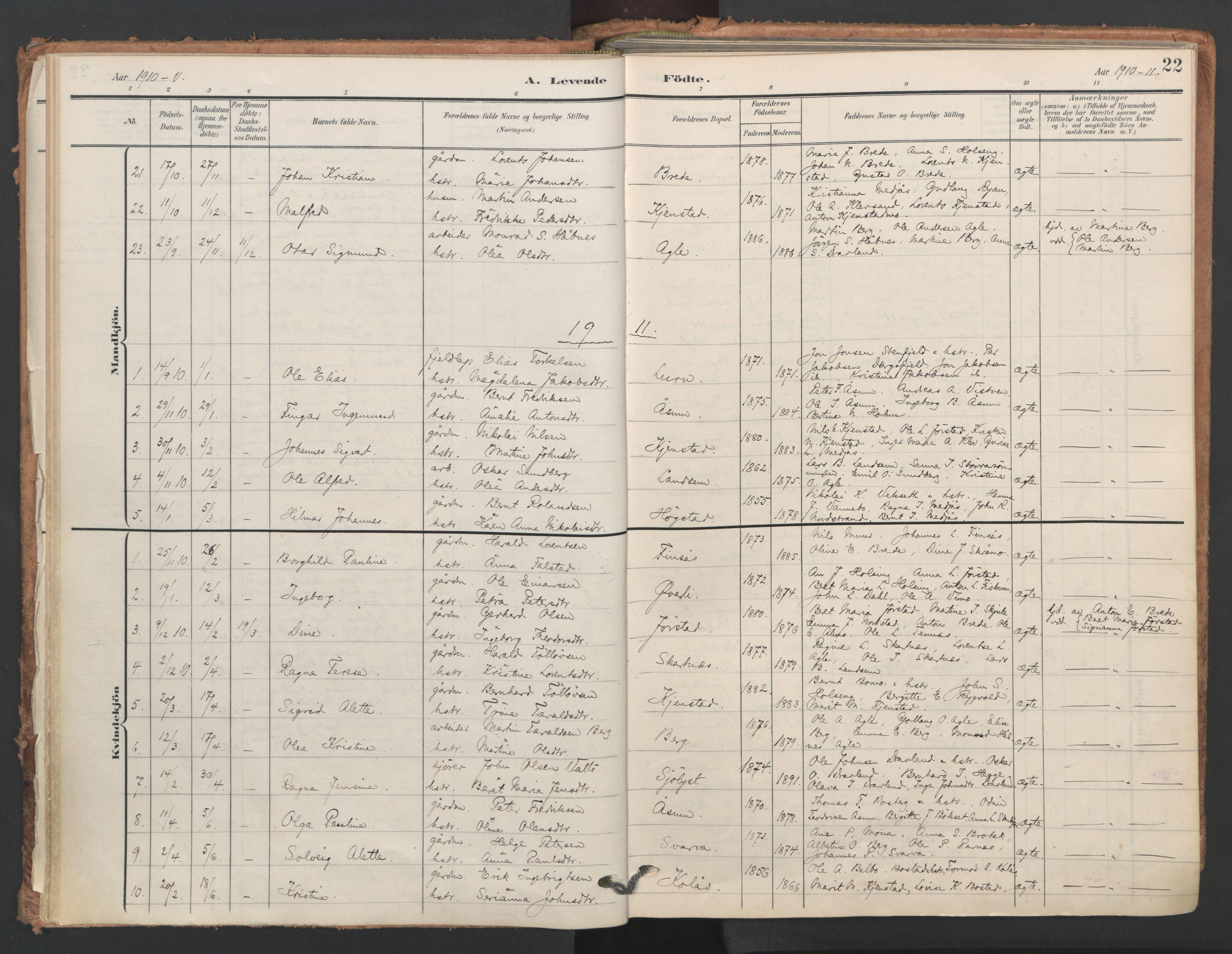 SAT, Ministerialprotokoller, klokkerbøker og fødselsregistre - Nord-Trøndelag, 749/L0477: Ministerialbok nr. 749A11, 1902-1927, s. 22