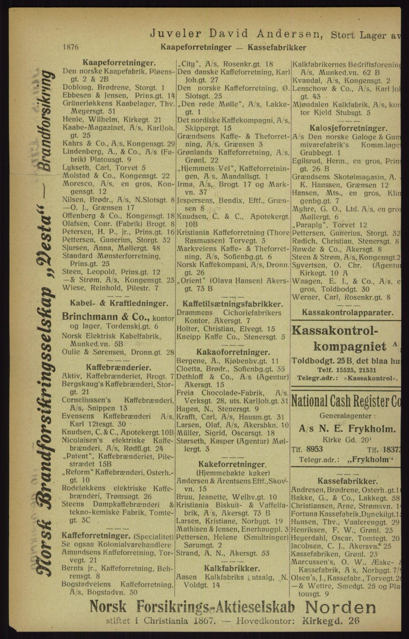 RA, Kristiania adressebok (publikasjon)*, 1916, s. 1876