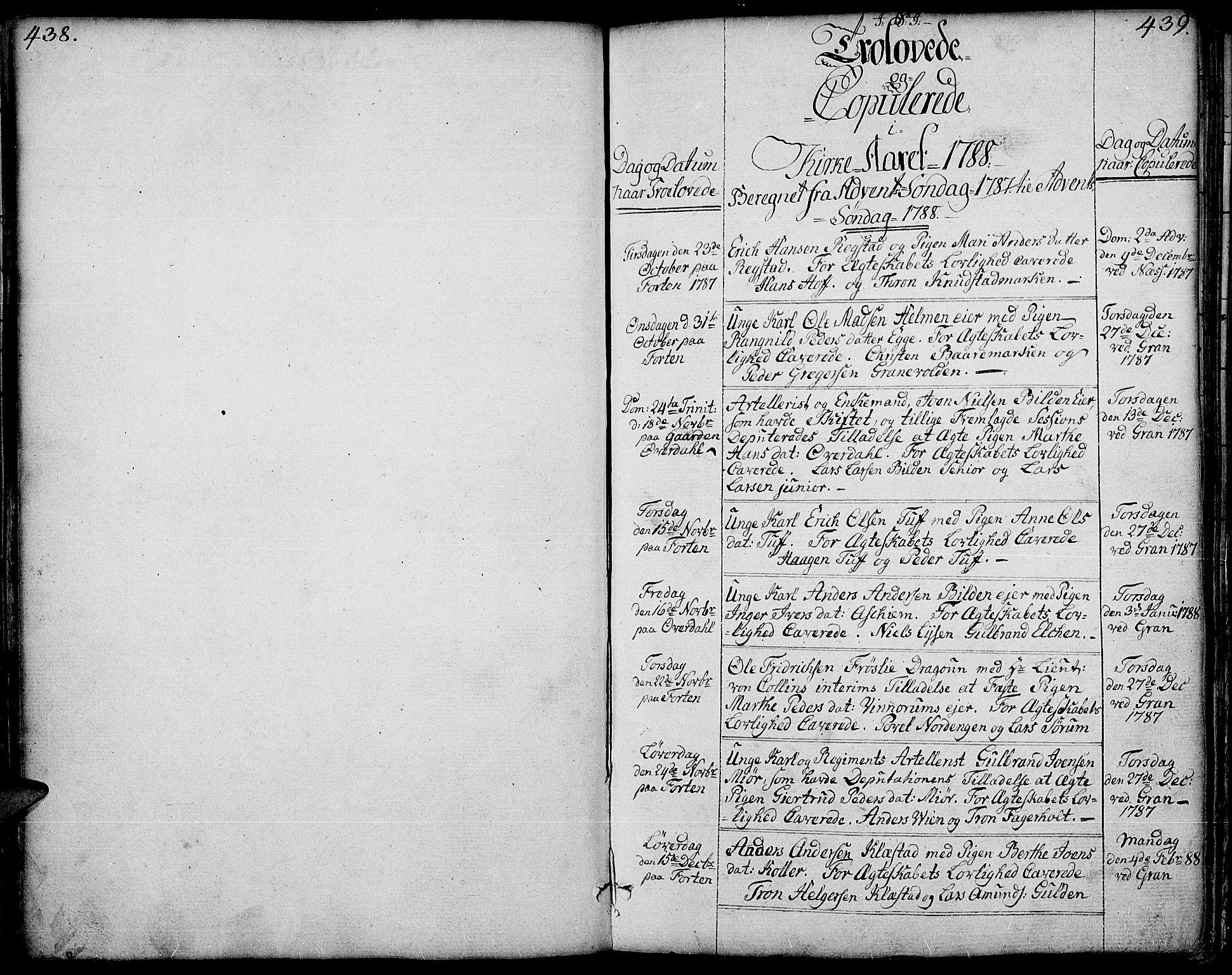 SAH, Gran prestekontor, Ministerialbok nr. 6, 1787-1824, s. 438-439