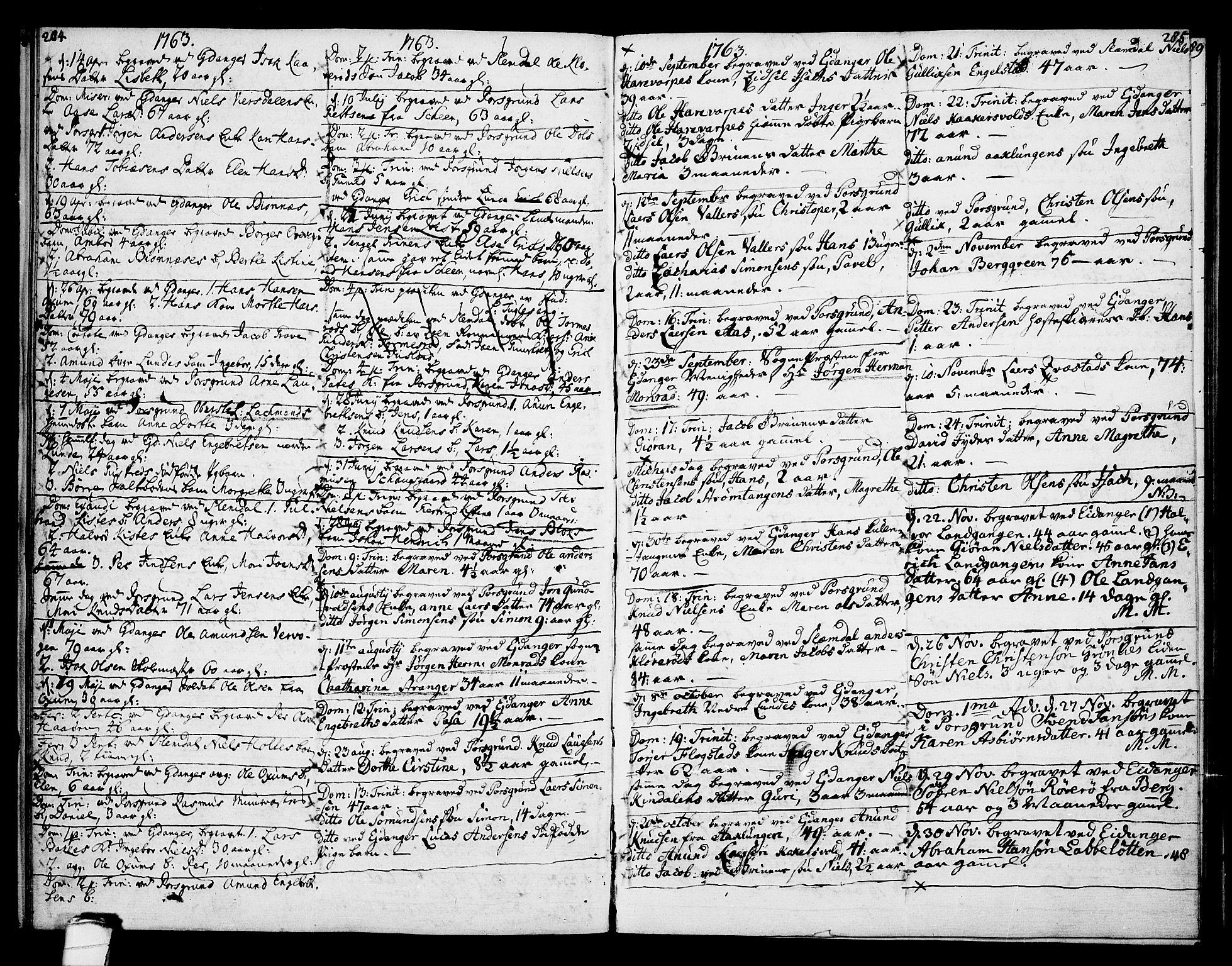 SAKO, Eidanger kirkebøker, F/Fa/L0005: Ministerialbok nr. 5, 1760-1764, s. 284-285