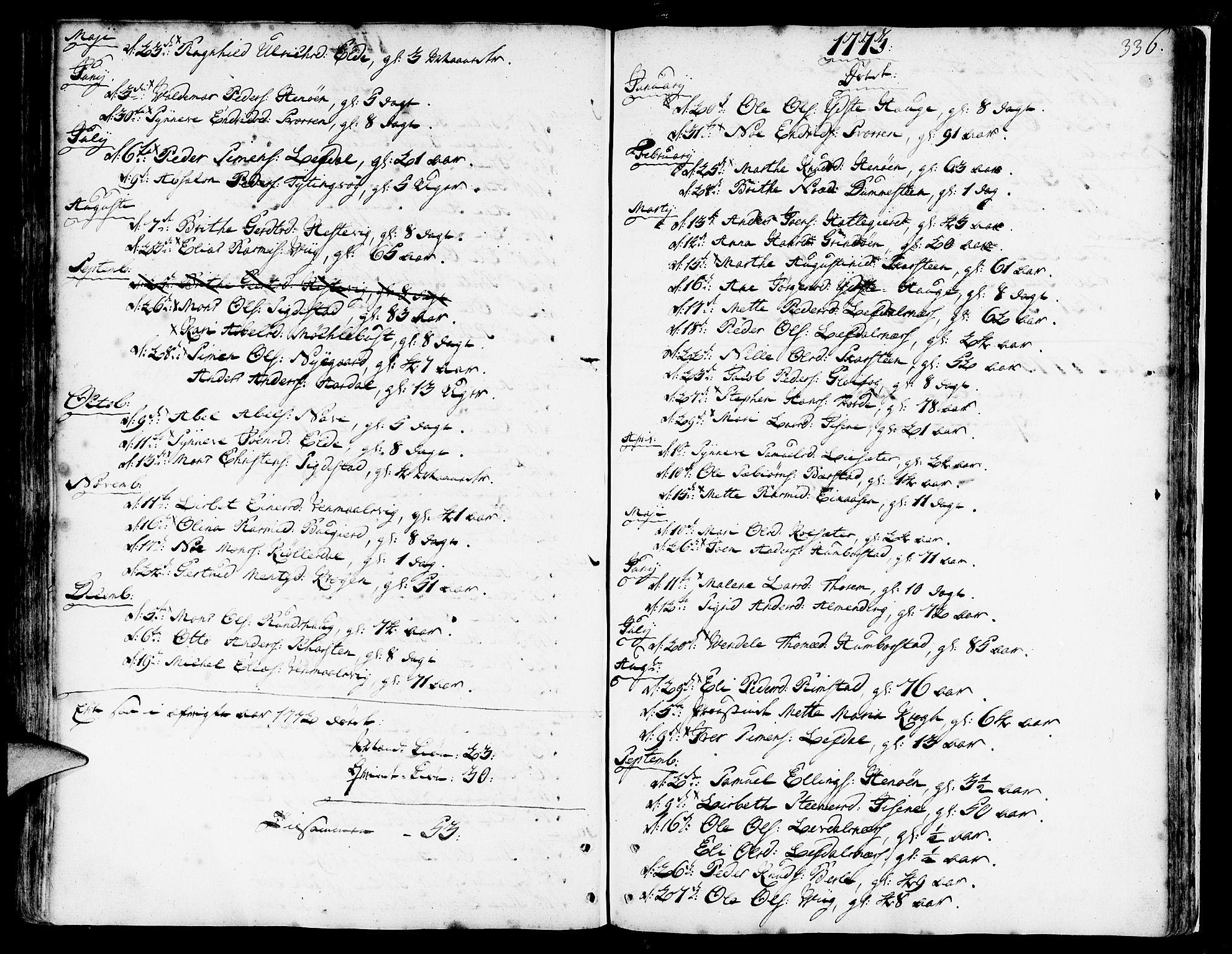 SAB, Davik Sokneprestembete, Ministerialbok nr. A 2, 1742-1816, s. 336