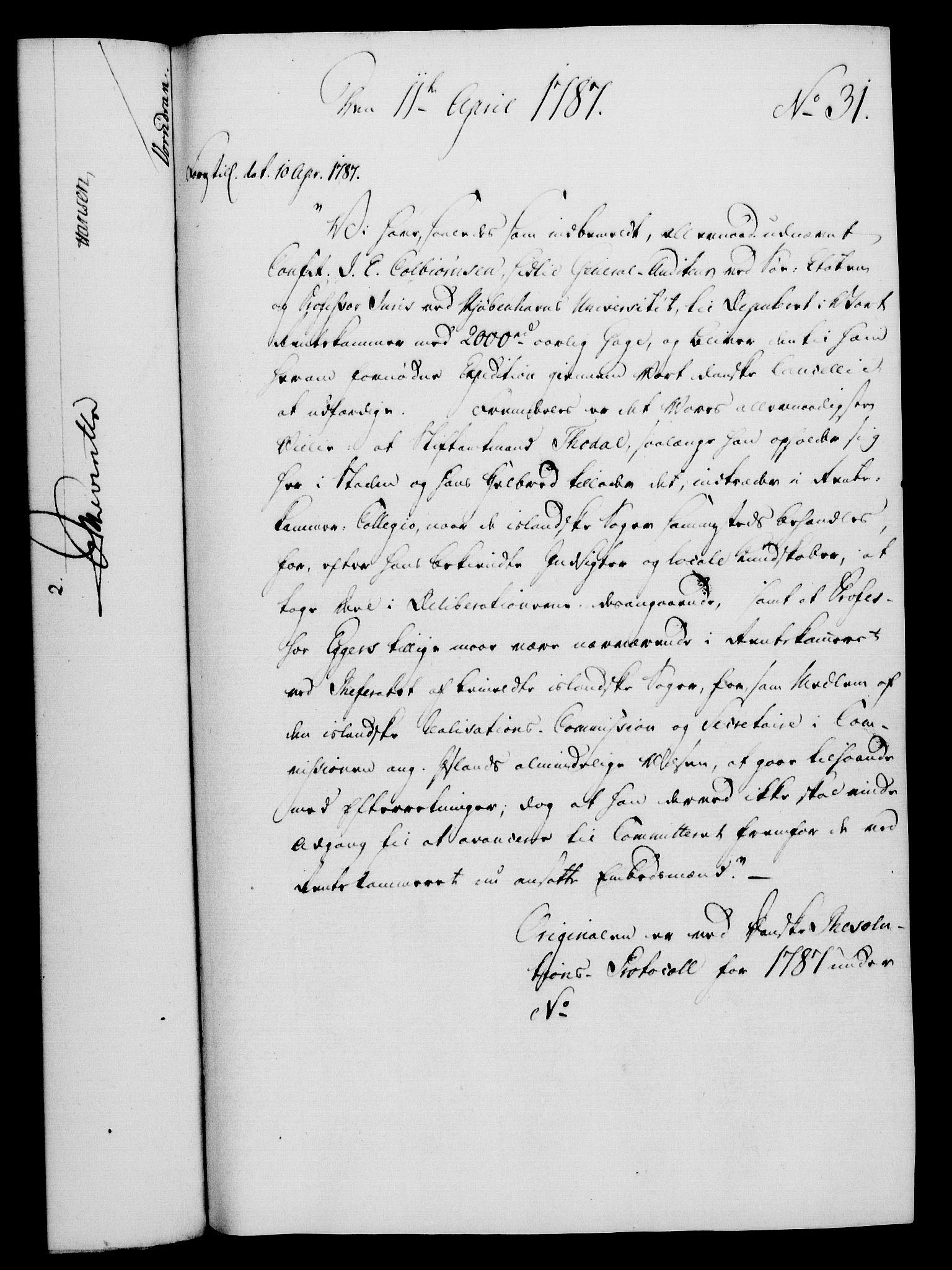 RA, Rentekammeret, Kammerkanselliet, G/Gf/Gfa/L0069: Norsk relasjons- og resolusjonsprotokoll (merket RK 52.69), 1787, s. 273