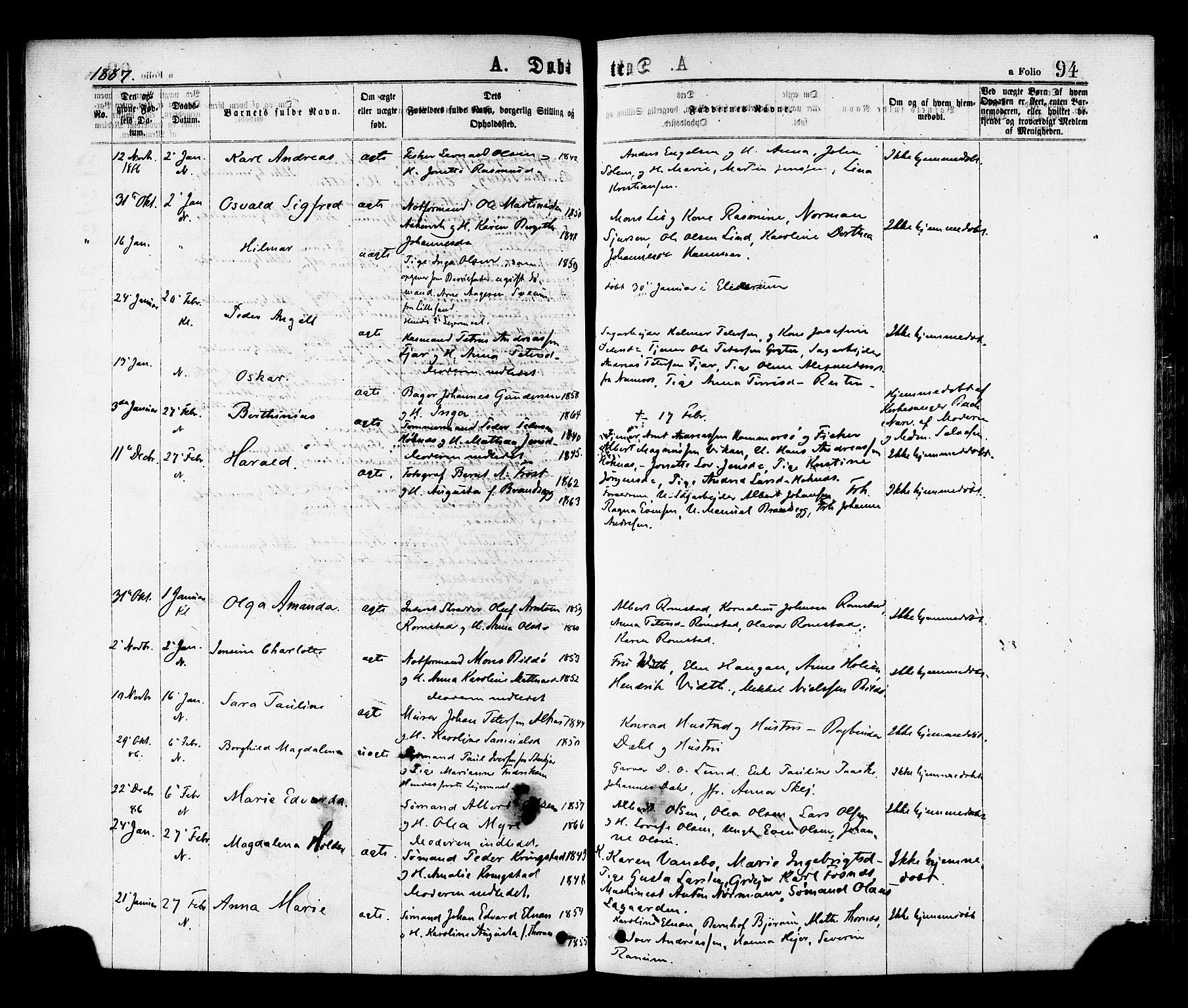SAT, Ministerialprotokoller, klokkerbøker og fødselsregistre - Nord-Trøndelag, 768/L0572: Ministerialbok nr. 768A07, 1874-1886, s. 94