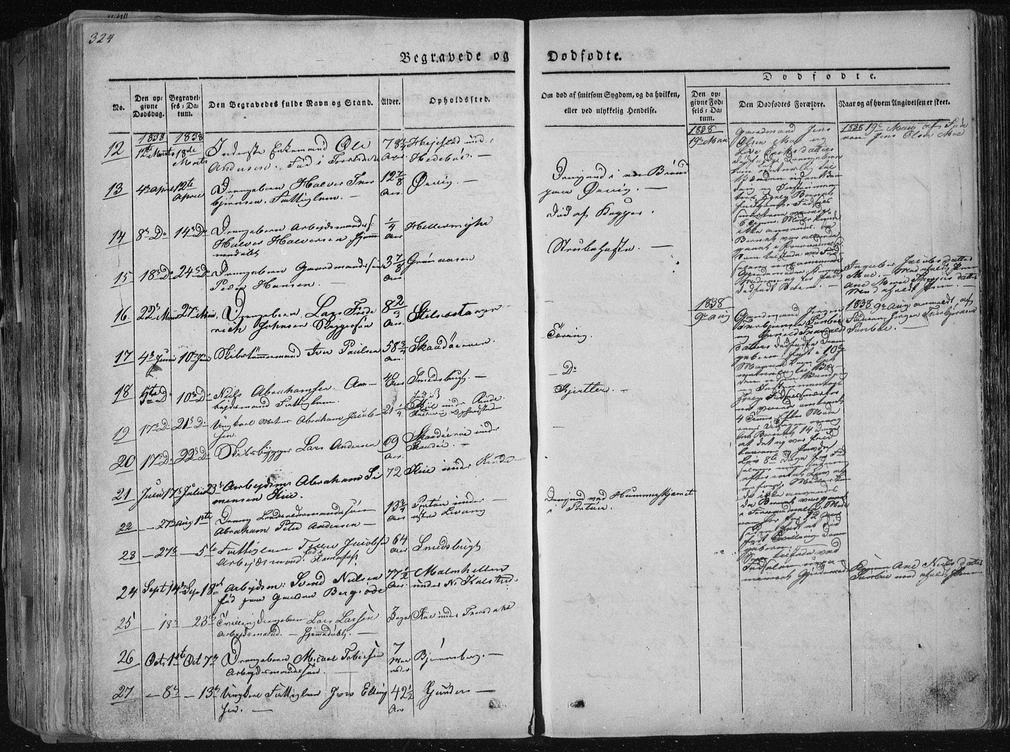 SAKO, Sannidal kirkebøker, F/Fa/L0006: Ministerialbok nr. 6, 1831-1847, s. 324