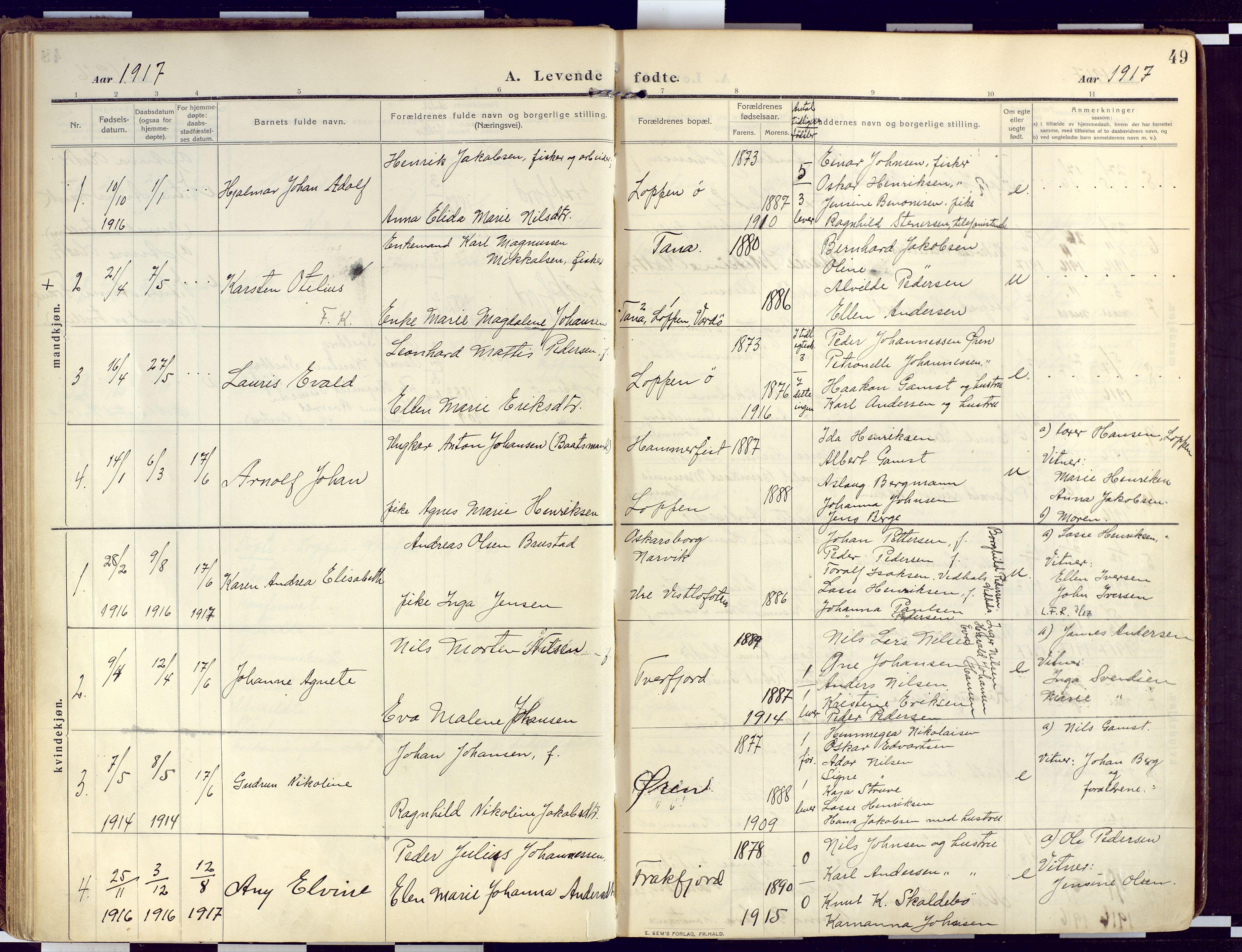 SATØ, Loppa sokneprestkontor, H/Ha/L0011kirke: Ministerialbok nr. 11, 1909-1919, s. 49