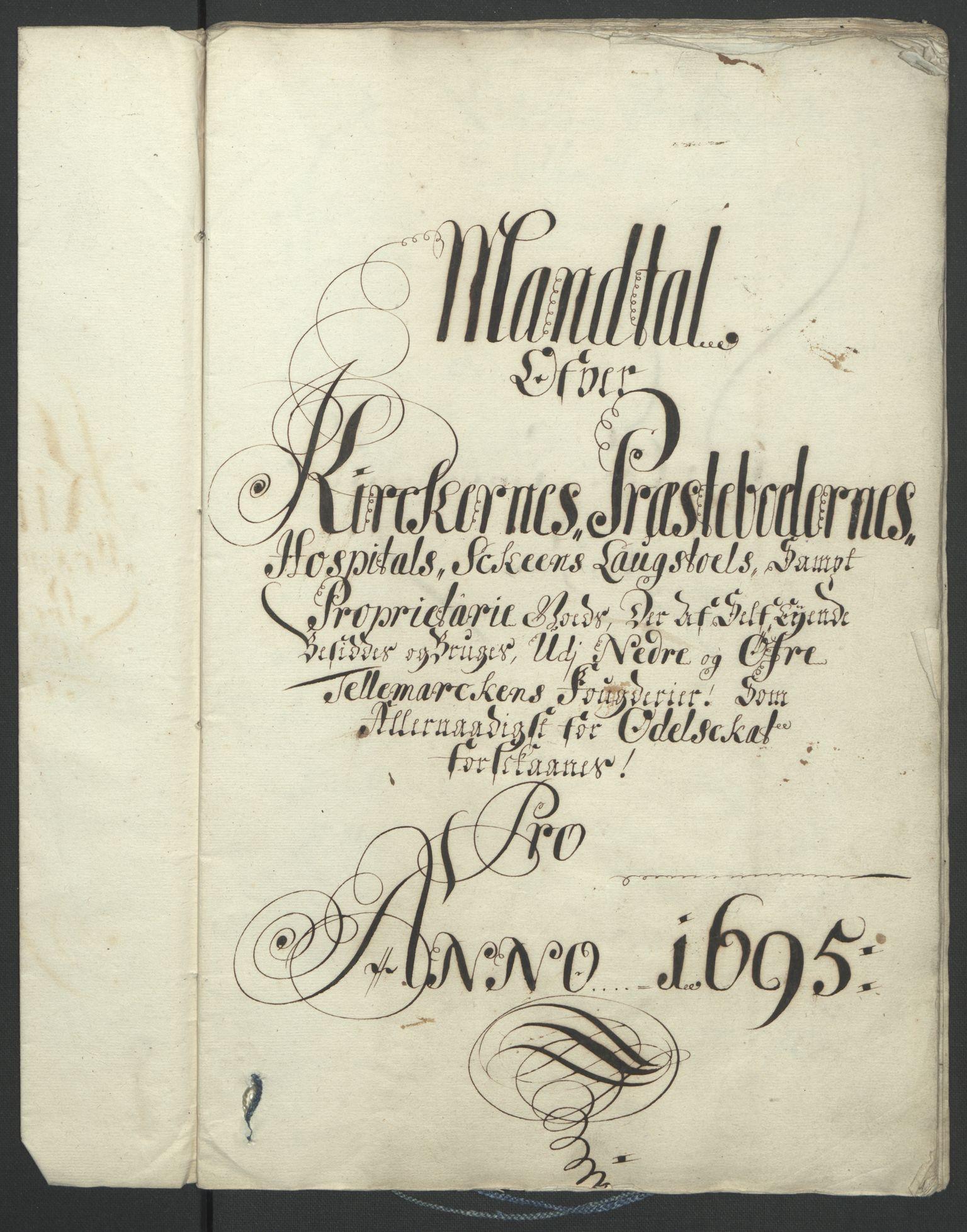 RA, Rentekammeret inntil 1814, Reviderte regnskaper, Fogderegnskap, R36/L2093: Fogderegnskap Øvre og Nedre Telemark og Bamble, 1695, s. 495