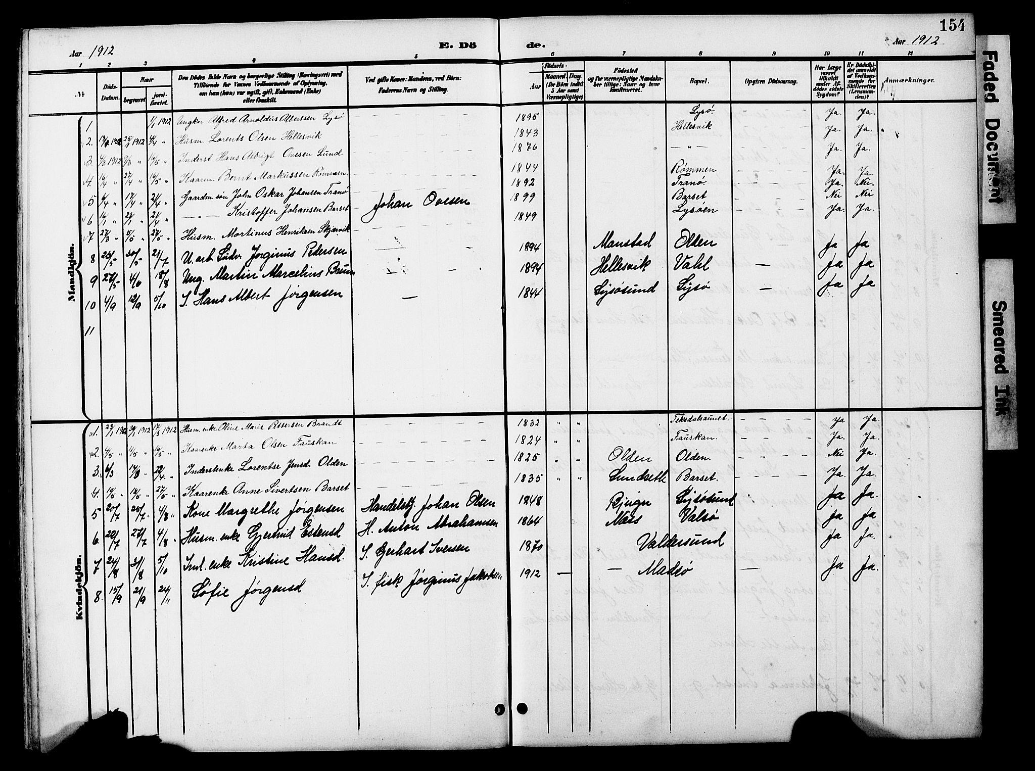 SAT, Ministerialprotokoller, klokkerbøker og fødselsregistre - Sør-Trøndelag, 654/L0666: Klokkerbok nr. 654C02, 1901-1925, s. 154