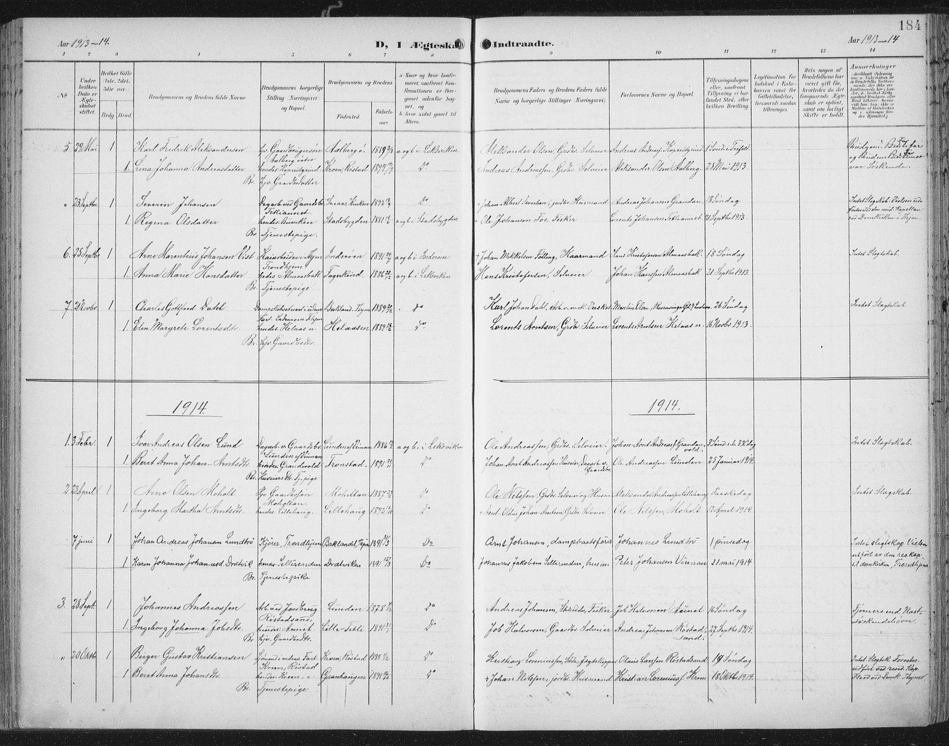 SAT, Ministerialprotokoller, klokkerbøker og fødselsregistre - Nord-Trøndelag, 701/L0011: Ministerialbok nr. 701A11, 1899-1915, s. 184