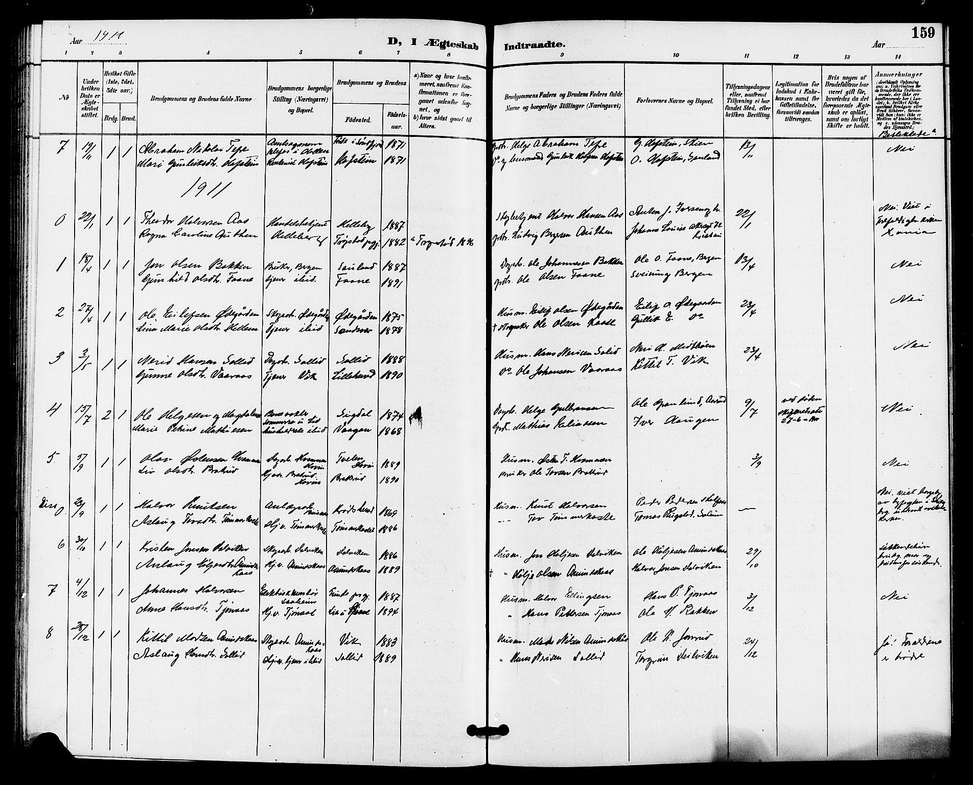 SAKO, Gransherad kirkebøker, G/Ga/L0003: Klokkerbok nr. I 3, 1887-1915, s. 159