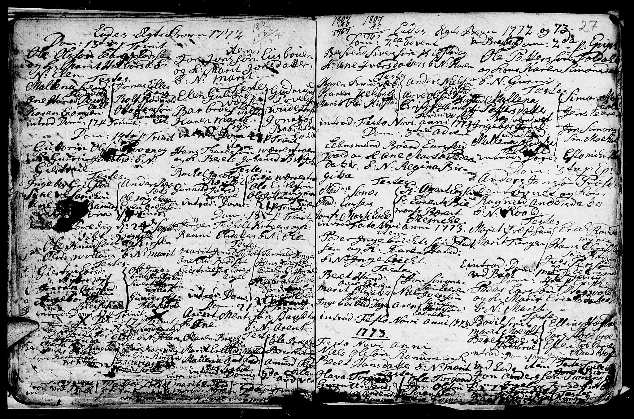 SAT, Ministerialprotokoller, klokkerbøker og fødselsregistre - Sør-Trøndelag, 606/L0305: Klokkerbok nr. 606C01, 1757-1819, s. 27