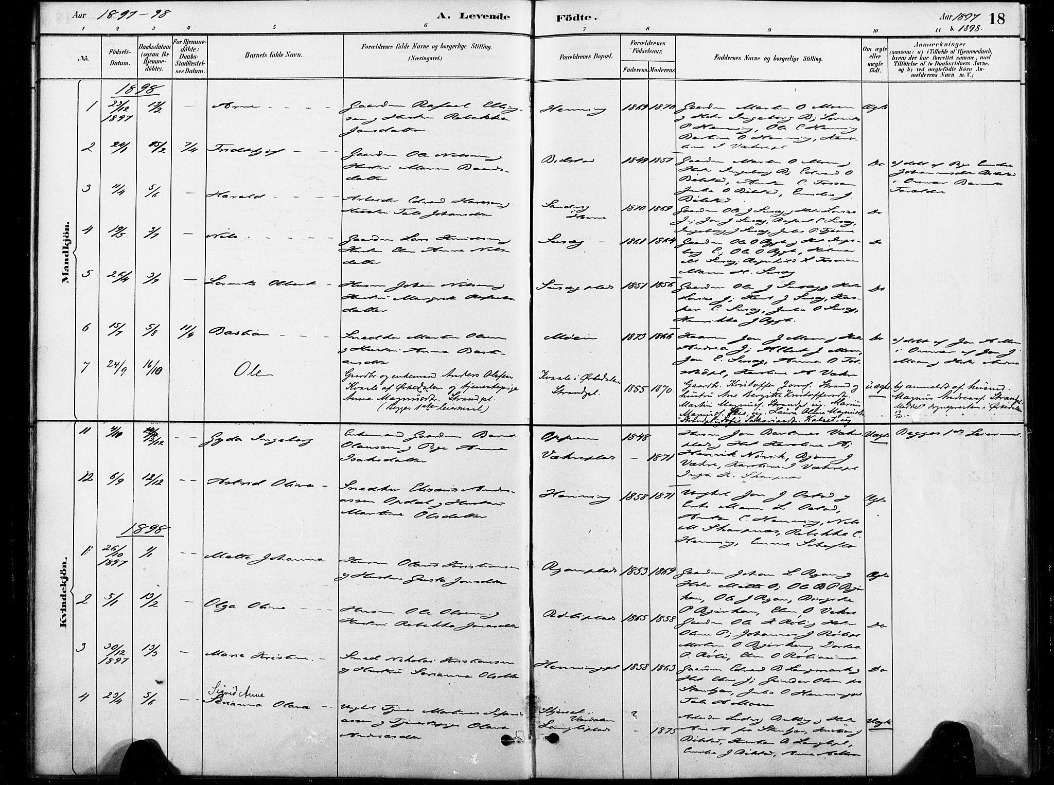 SAT, Ministerialprotokoller, klokkerbøker og fødselsregistre - Nord-Trøndelag, 738/L0364: Ministerialbok nr. 738A01, 1884-1902, s. 18