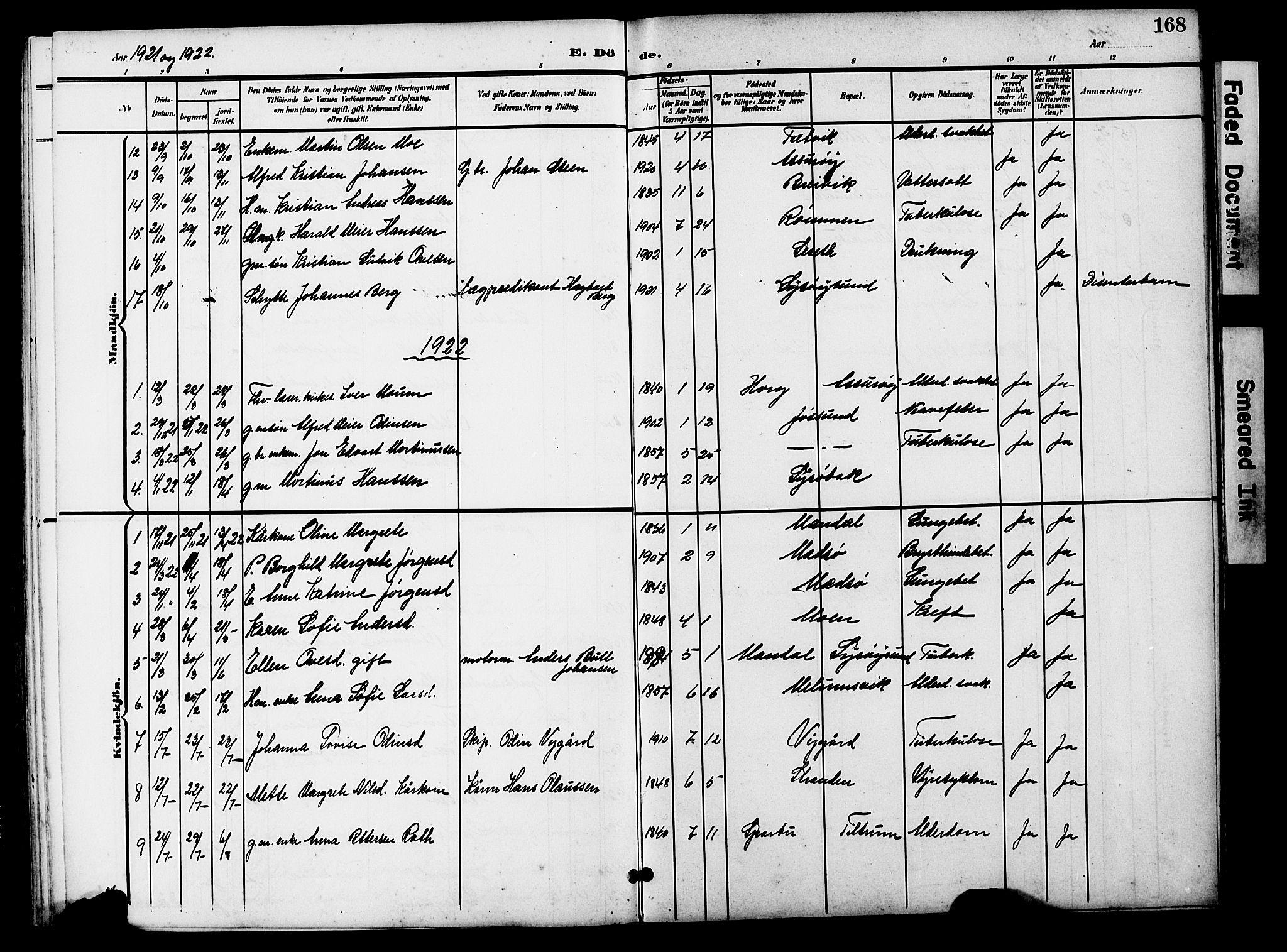 SAT, Ministerialprotokoller, klokkerbøker og fødselsregistre - Sør-Trøndelag, 654/L0666: Klokkerbok nr. 654C02, 1901-1925, s. 168