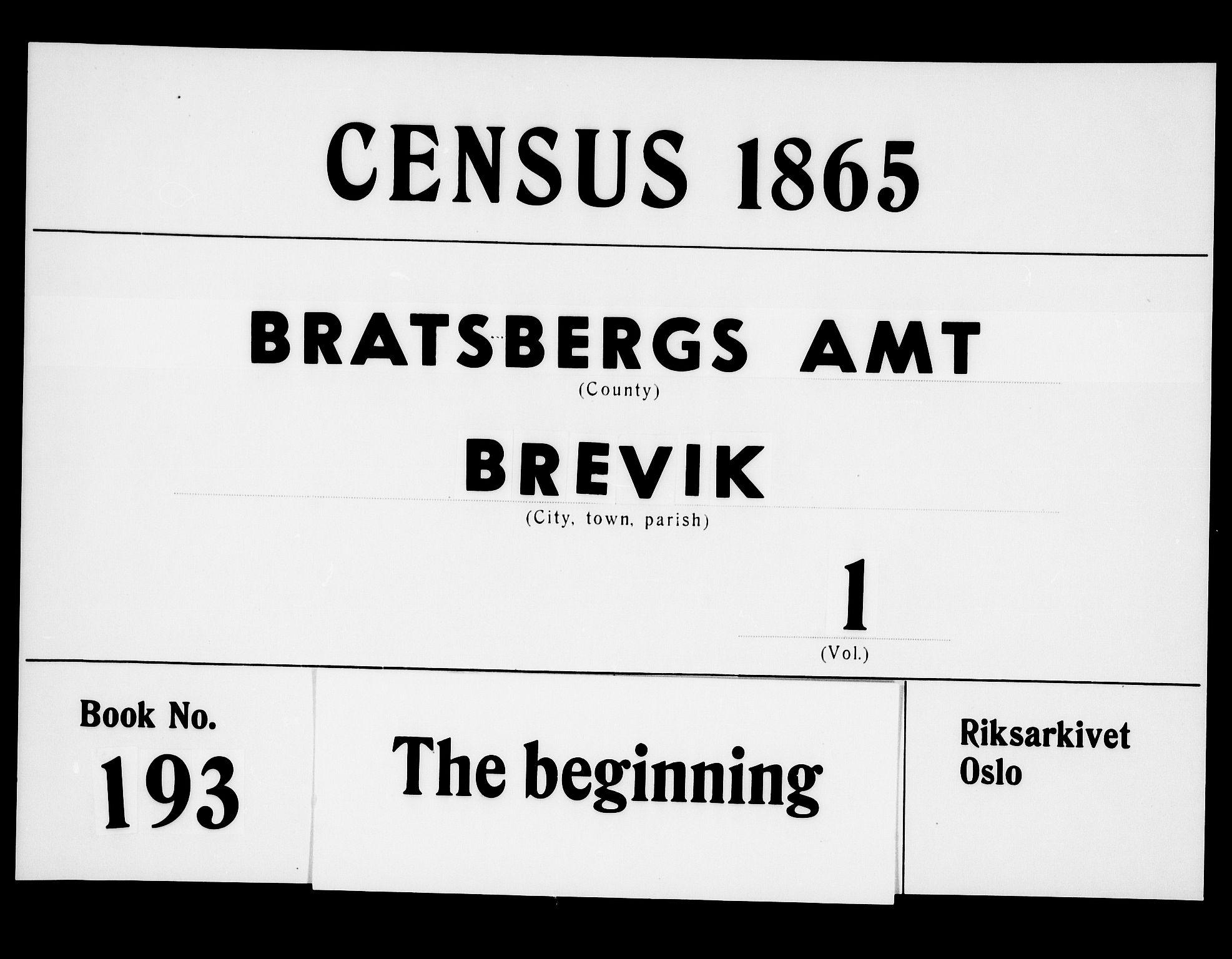 RA, Folketelling 1865 for 0804P Brevik prestegjeld, 1865, s. 1