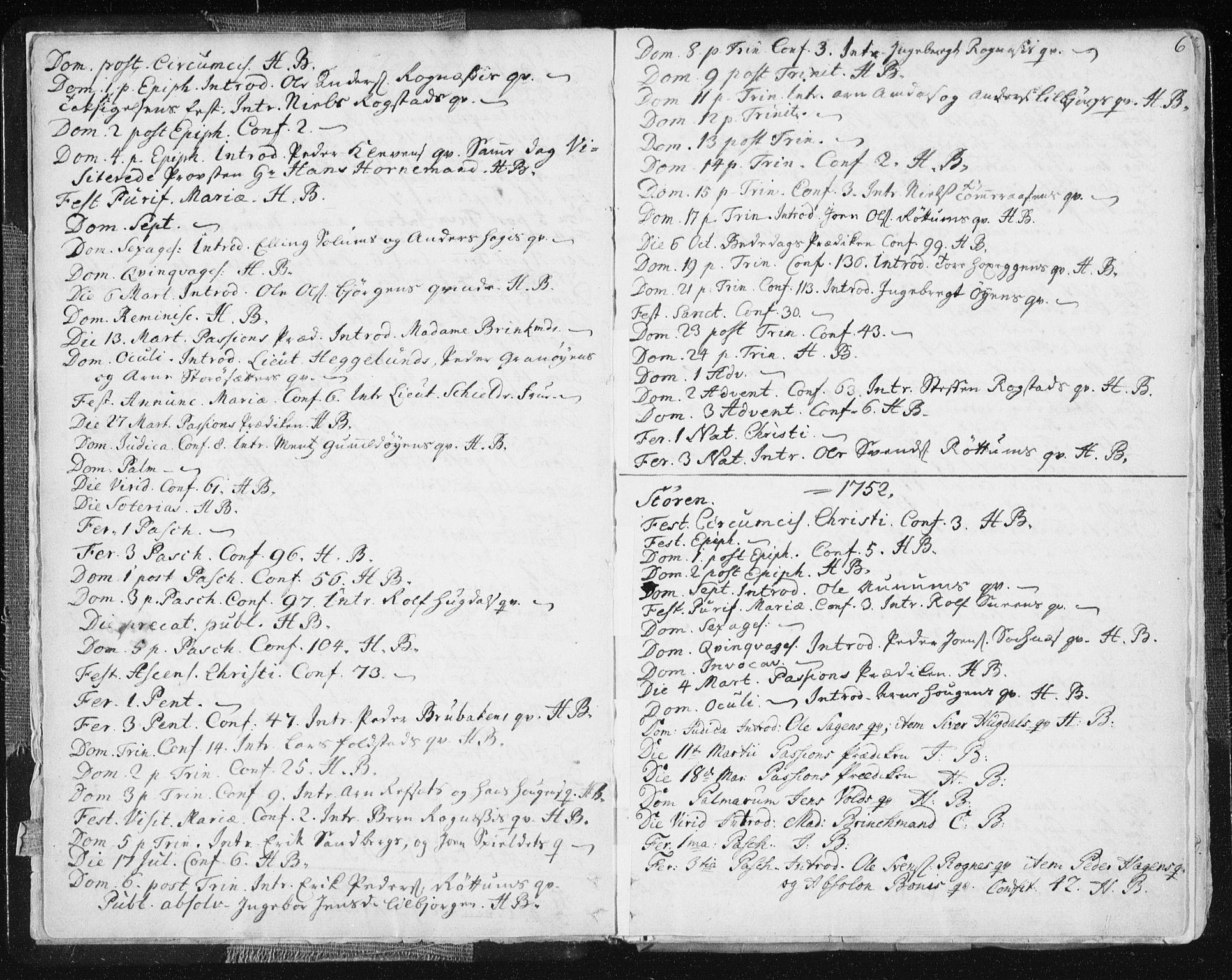 SAT, Ministerialprotokoller, klokkerbøker og fødselsregistre - Sør-Trøndelag, 687/L0991: Ministerialbok nr. 687A02, 1747-1790, s. 6