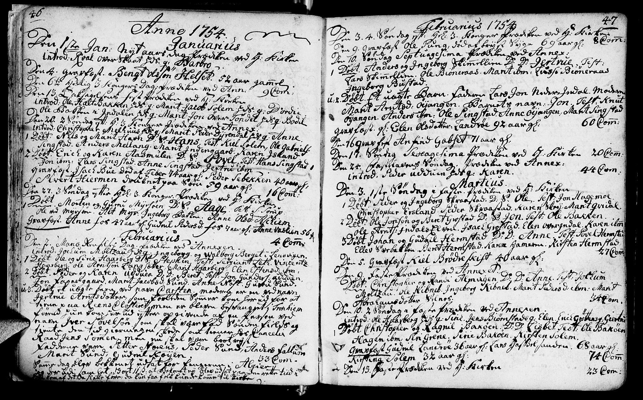 SAT, Ministerialprotokoller, klokkerbøker og fødselsregistre - Sør-Trøndelag, 646/L0605: Ministerialbok nr. 646A03, 1751-1790, s. 46-47