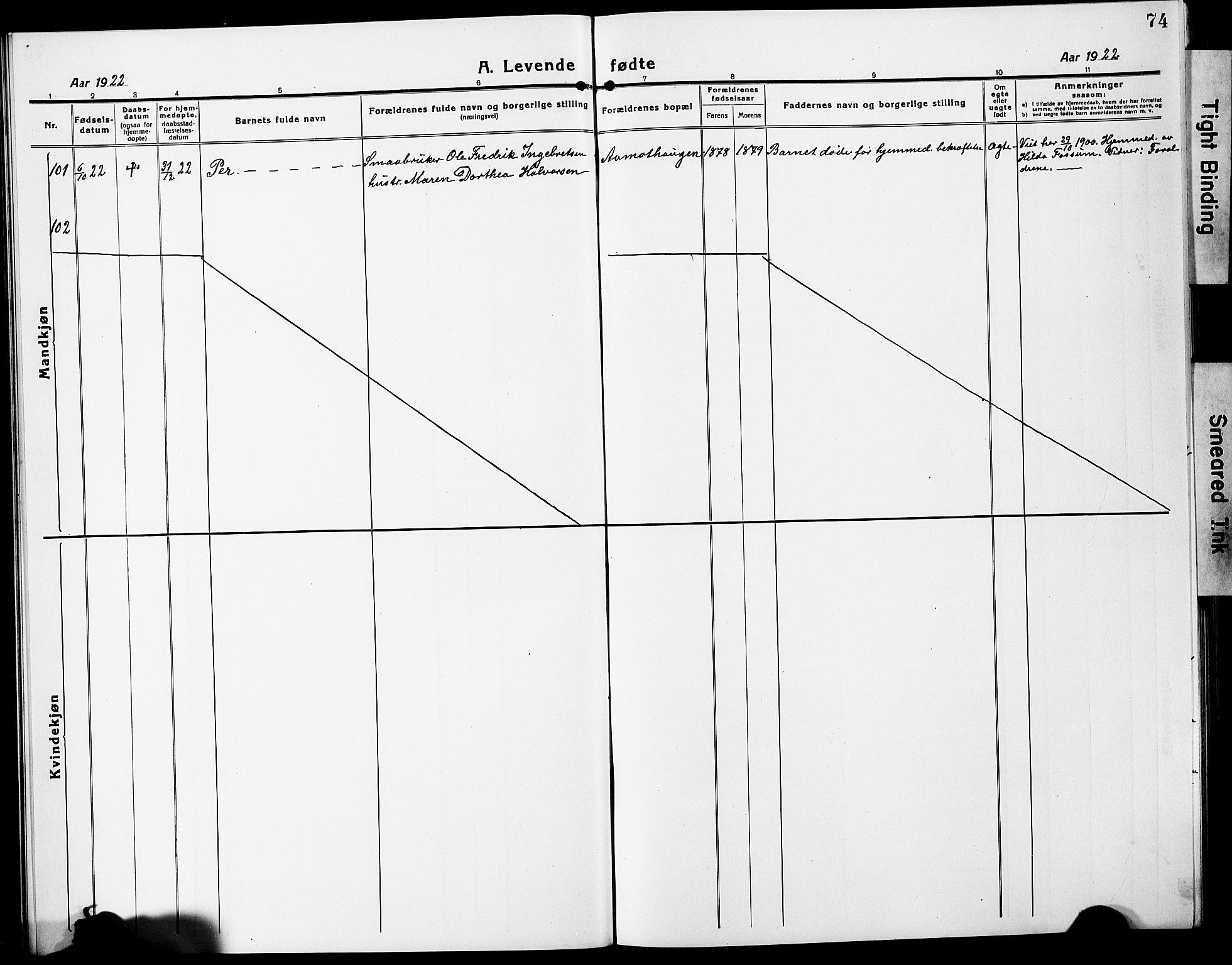 SAO, Eidsvoll prestekontor Kirkebøker, G/Ga/L0010: Klokkerbok nr. I 10, 1919-1929, s. 74