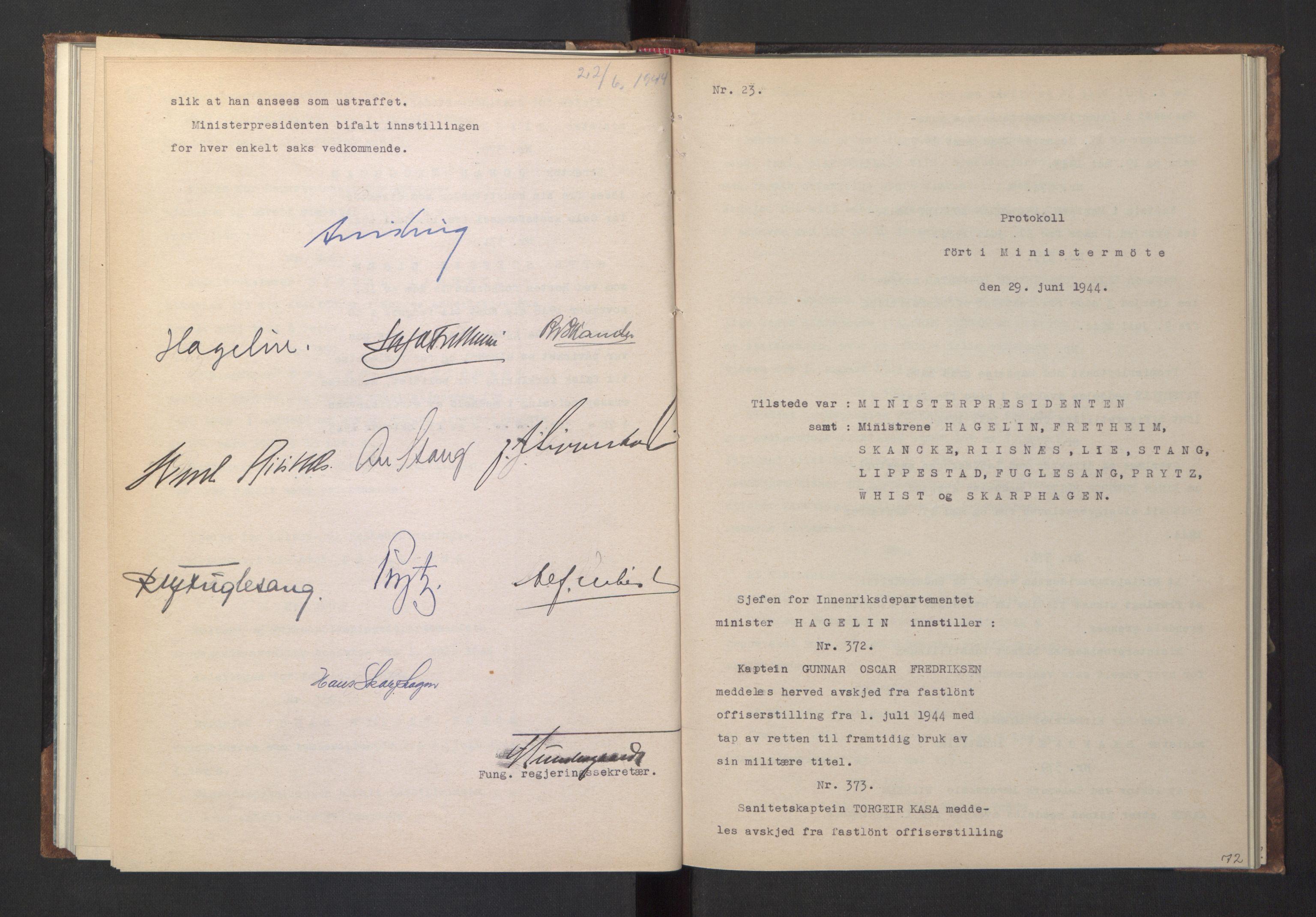RA, NS-administrasjonen 1940-1945 (Statsrådsekretariatet, de kommisariske statsråder mm), D/Da/L0005: Protokoll fra ministermøter, 1944, s. 71b-72a