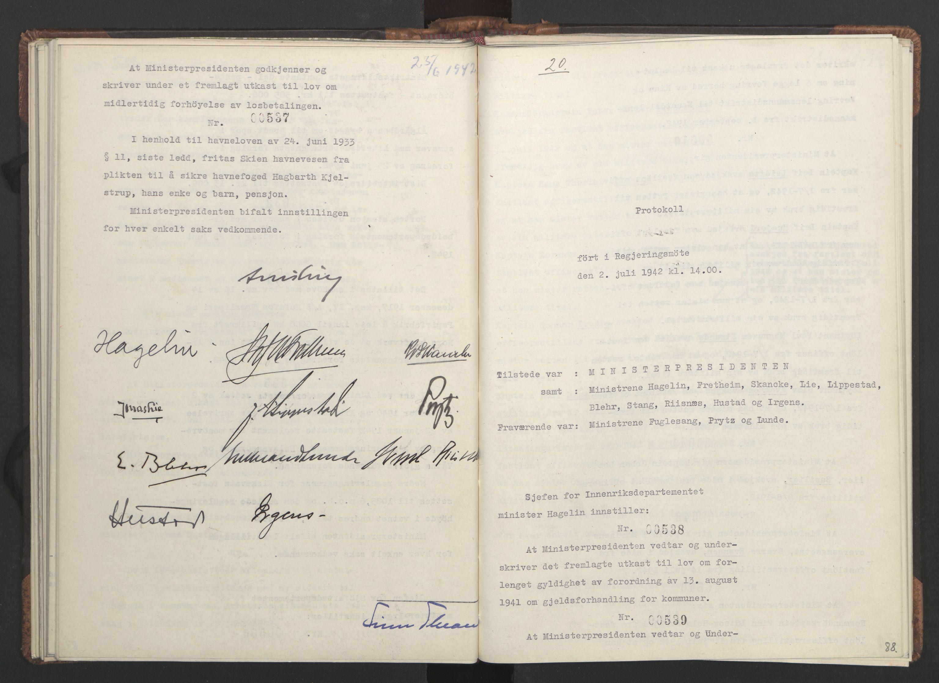RA, NS-administrasjonen 1940-1945 (Statsrådsekretariatet, de kommisariske statsråder mm), D/Da/L0001: Beslutninger og tillegg (1-952 og 1-32), 1942, s. 87b-88a