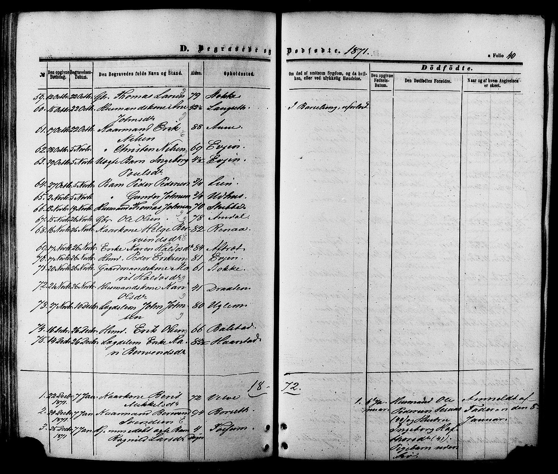 SAT, Ministerialprotokoller, klokkerbøker og fødselsregistre - Sør-Trøndelag, 695/L1147: Ministerialbok nr. 695A07, 1860-1877, s. 40