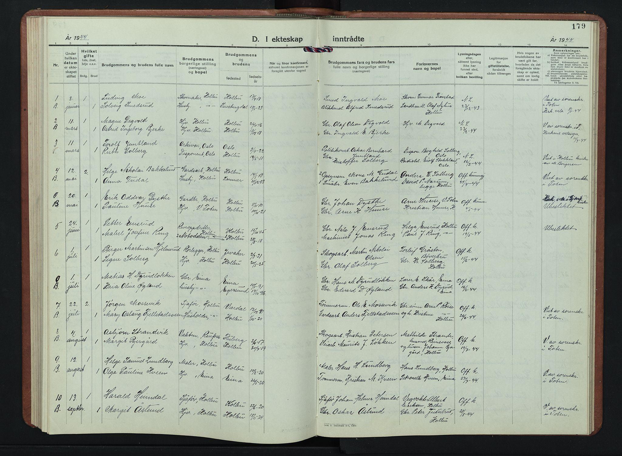 SAH, Kolbu prestekontor, Klokkerbok nr. 4, 1942-1953, s. 179