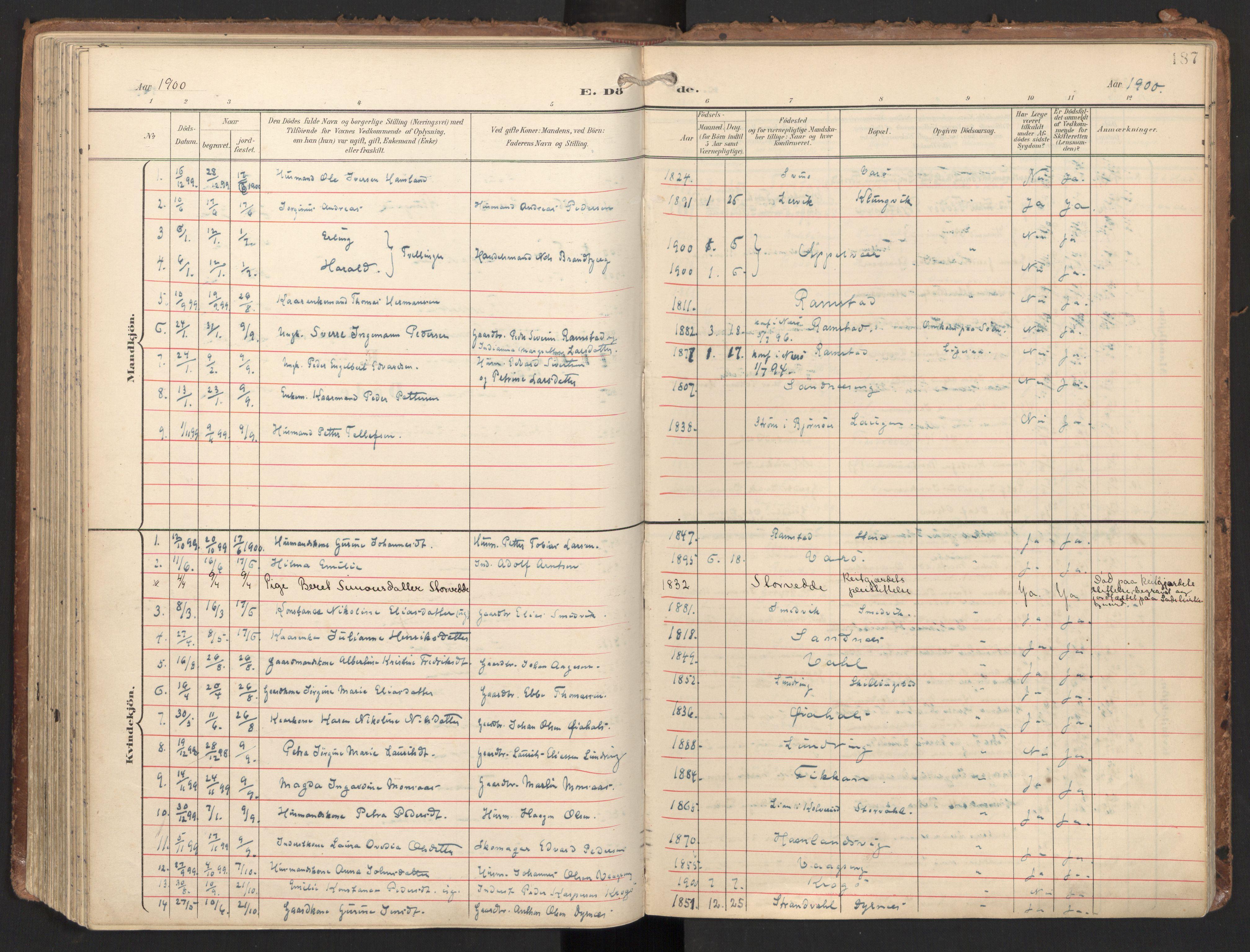 SAT, Ministerialprotokoller, klokkerbøker og fødselsregistre - Nord-Trøndelag, 784/L0677: Ministerialbok nr. 784A12, 1900-1920, s. 187