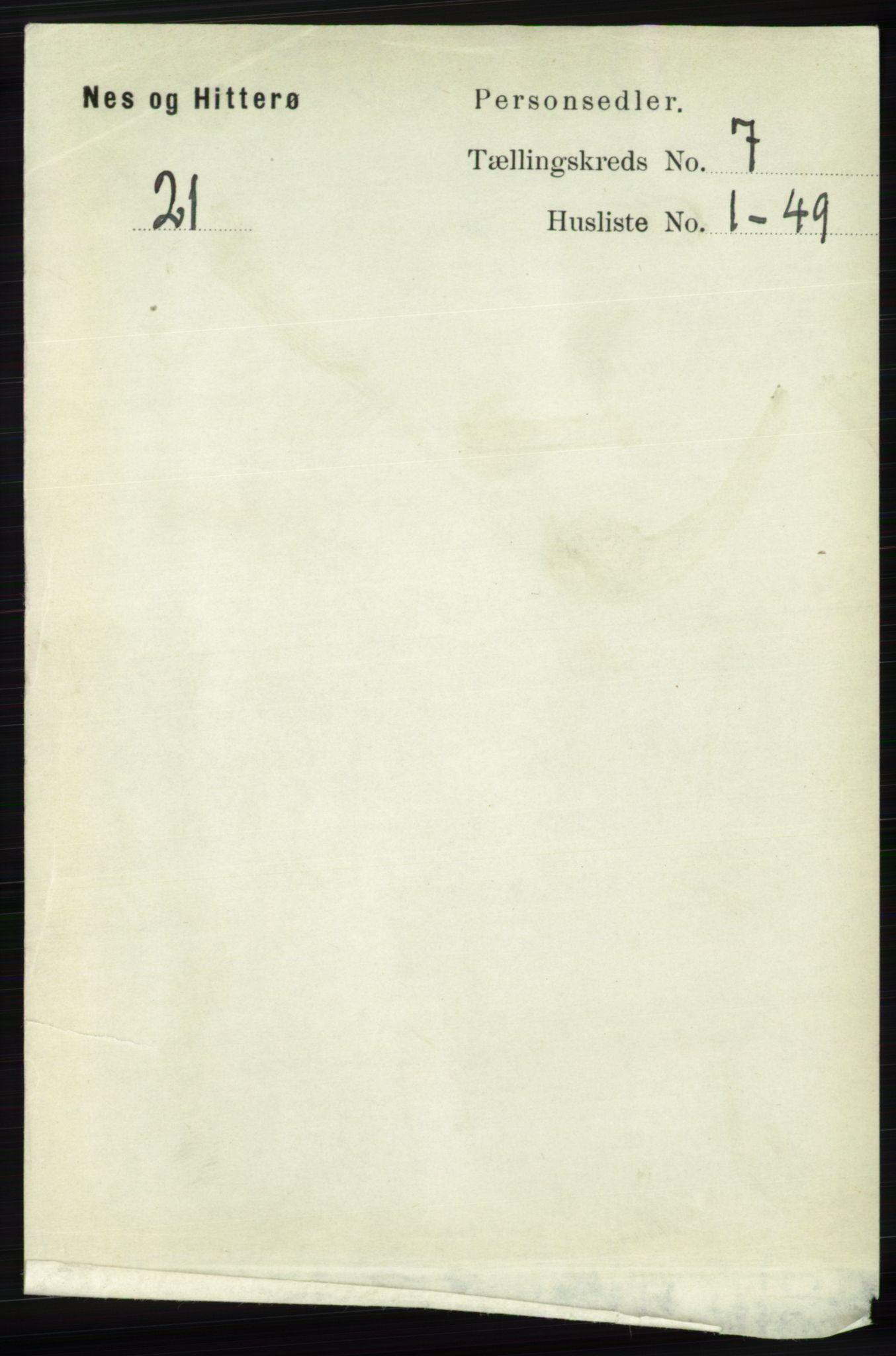 RA, Folketelling 1891 for 1043 Hidra og Nes herred, 1891, s. 2803