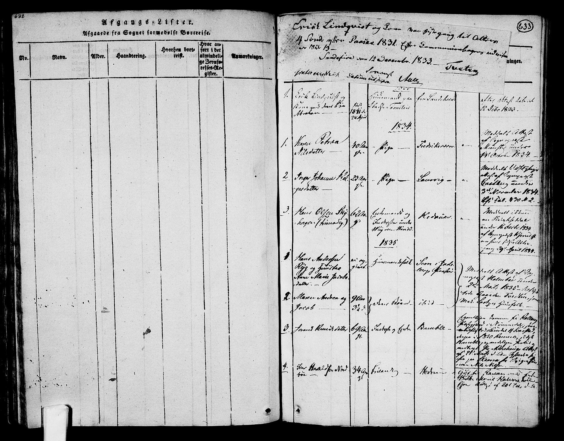 SAKO, Tjølling kirkebøker, F/Fa/L0005: Ministerialbok nr. 5, 1814-1836, s. 632-633