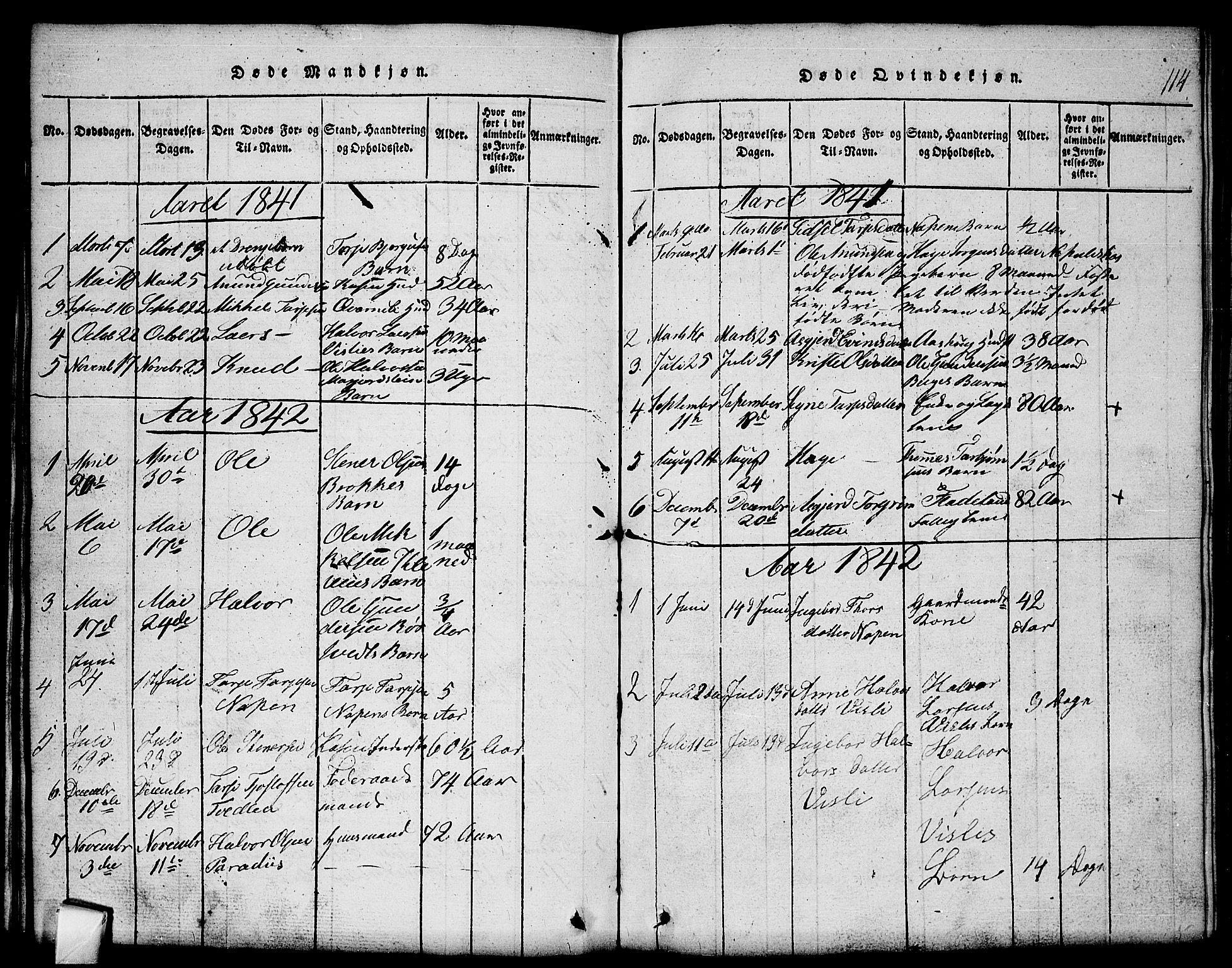 SAKO, Mo kirkebøker, G/Gb/L0001: Klokkerbok nr. II 1, 1814-1843, s. 114