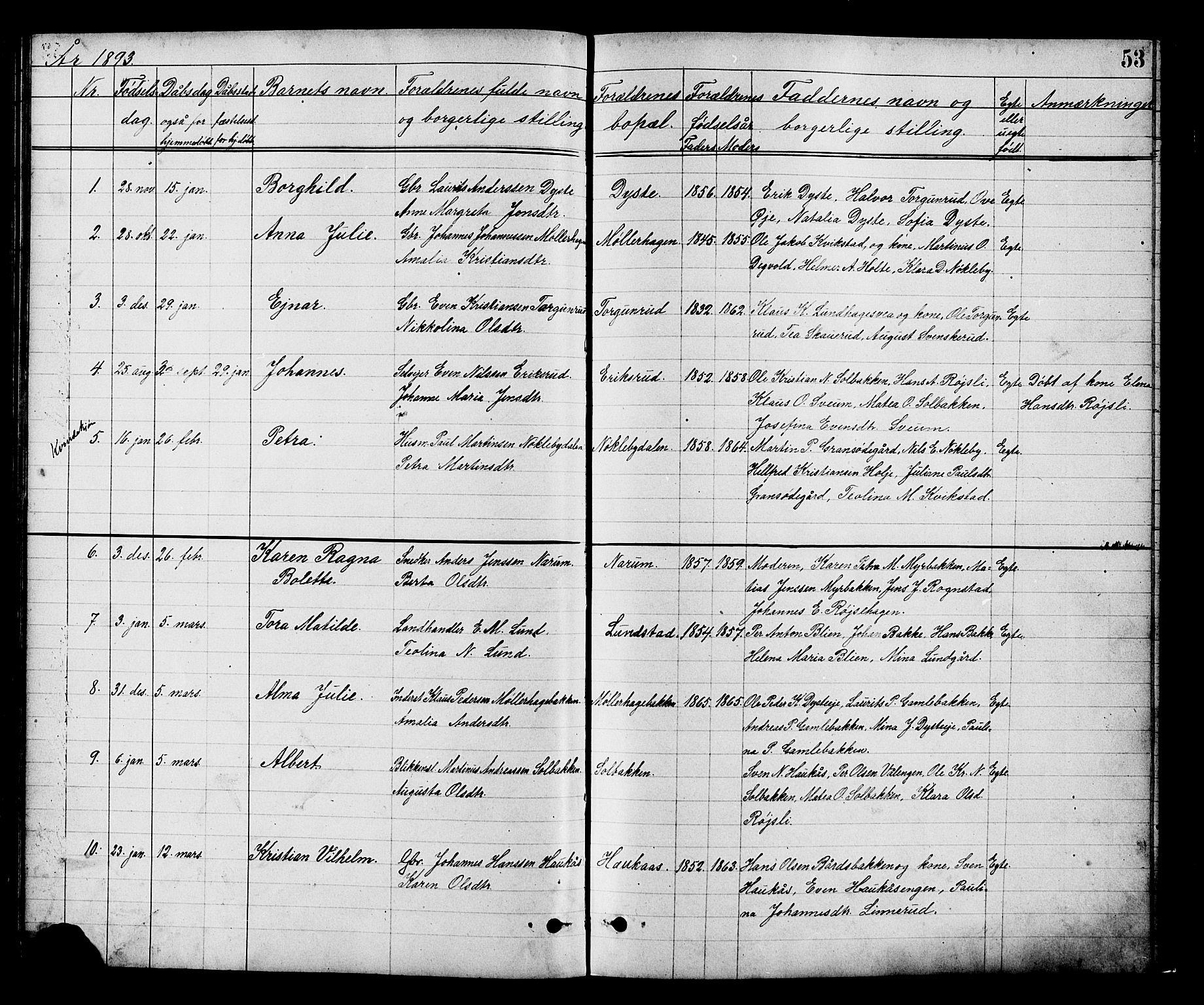 SAH, Vestre Toten prestekontor, Klokkerbok nr. 8, 1885-1900, s. 53