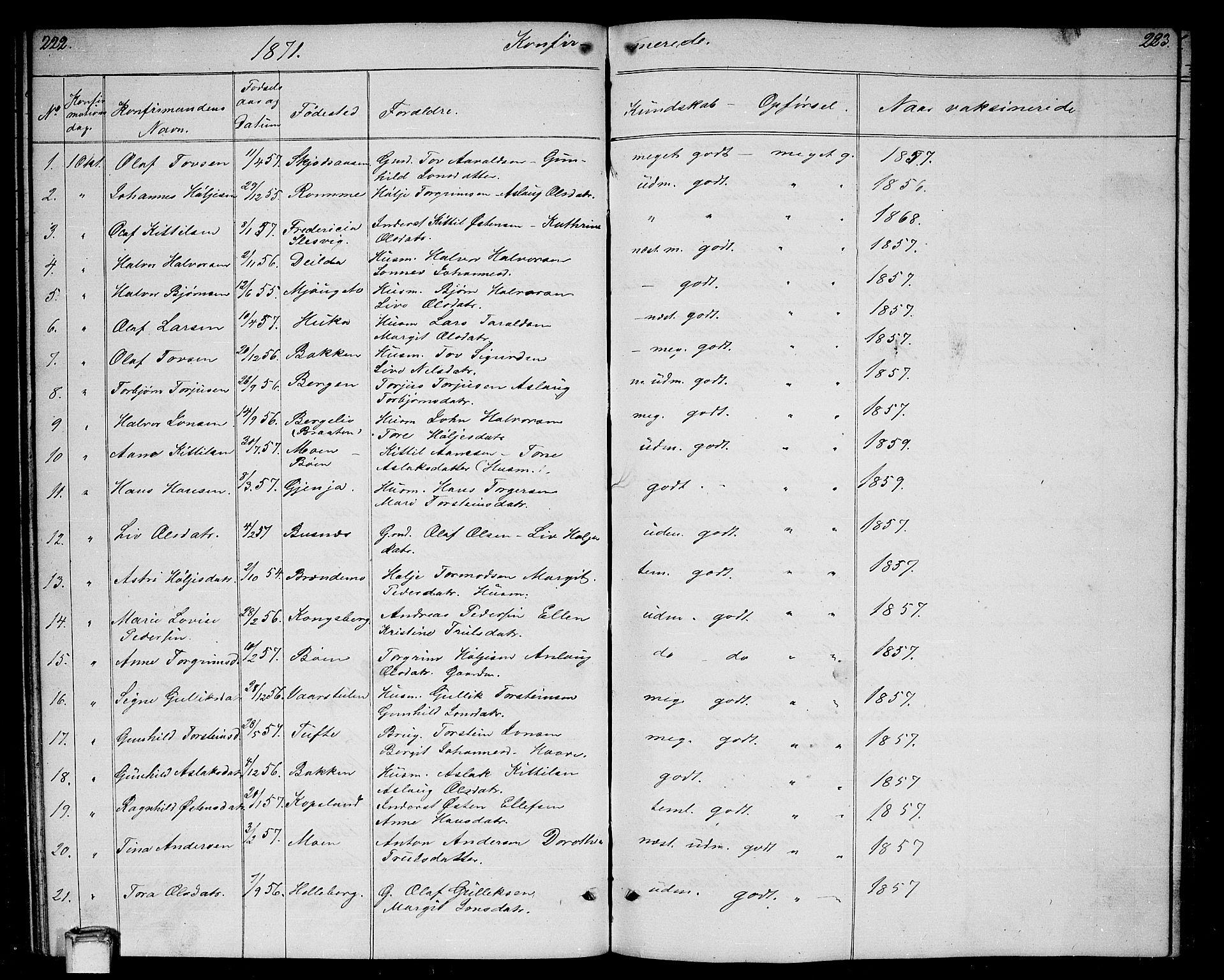 SAKO, Gransherad kirkebøker, G/Ga/L0002: Klokkerbok nr. I 2, 1854-1886, s. 222-223