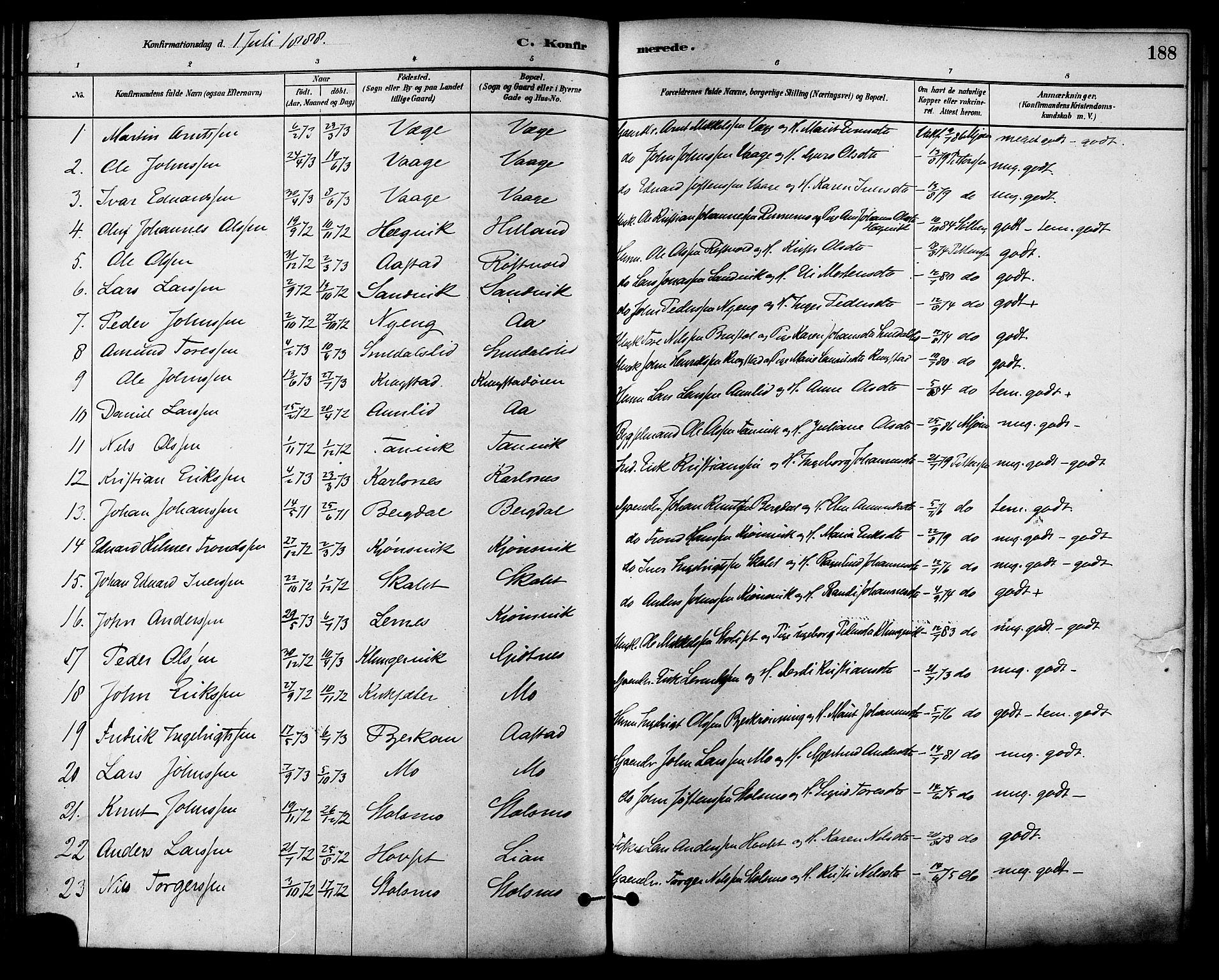 SAT, Ministerialprotokoller, klokkerbøker og fødselsregistre - Sør-Trøndelag, 630/L0496: Ministerialbok nr. 630A09, 1879-1895, s. 188