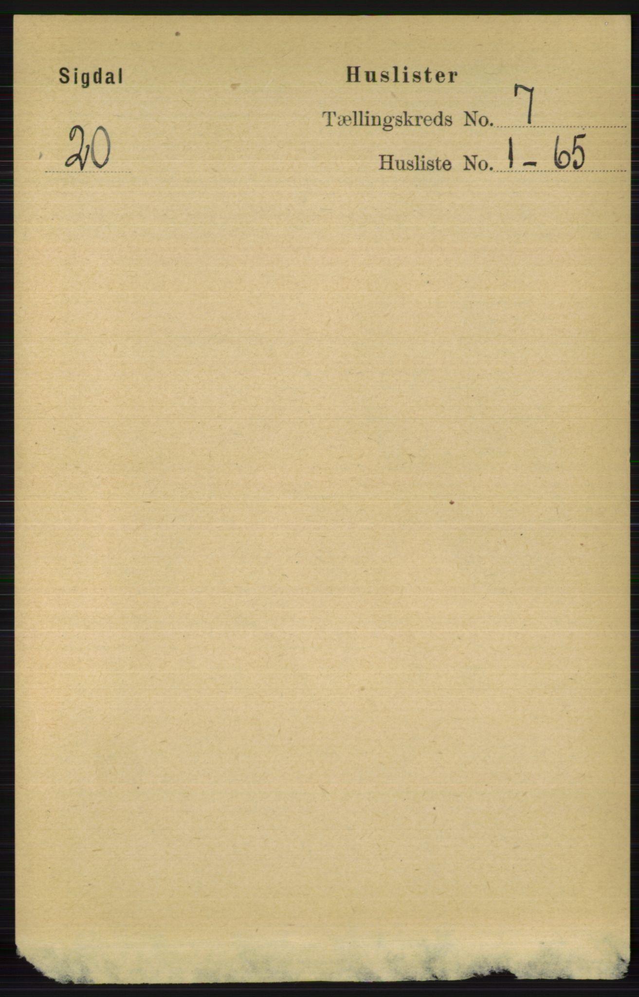 RA, Folketelling 1891 for 0621 Sigdal herred, 1891, s. 2649