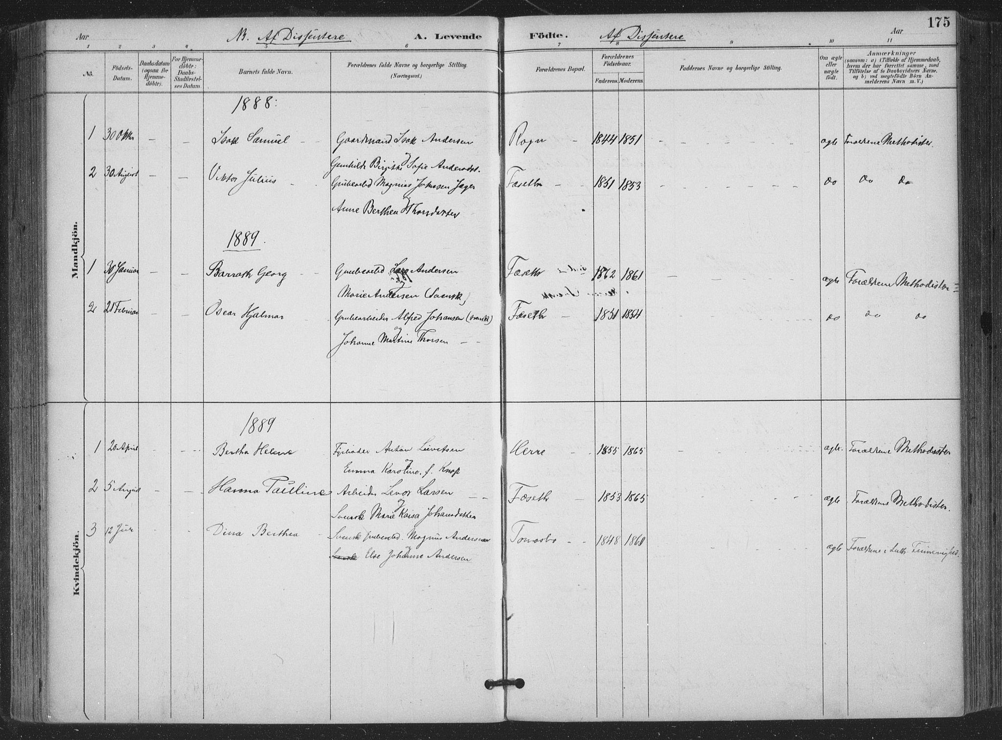 SAKO, Bamble kirkebøker, F/Fa/L0008: Ministerialbok nr. I 8, 1888-1900, s. 175