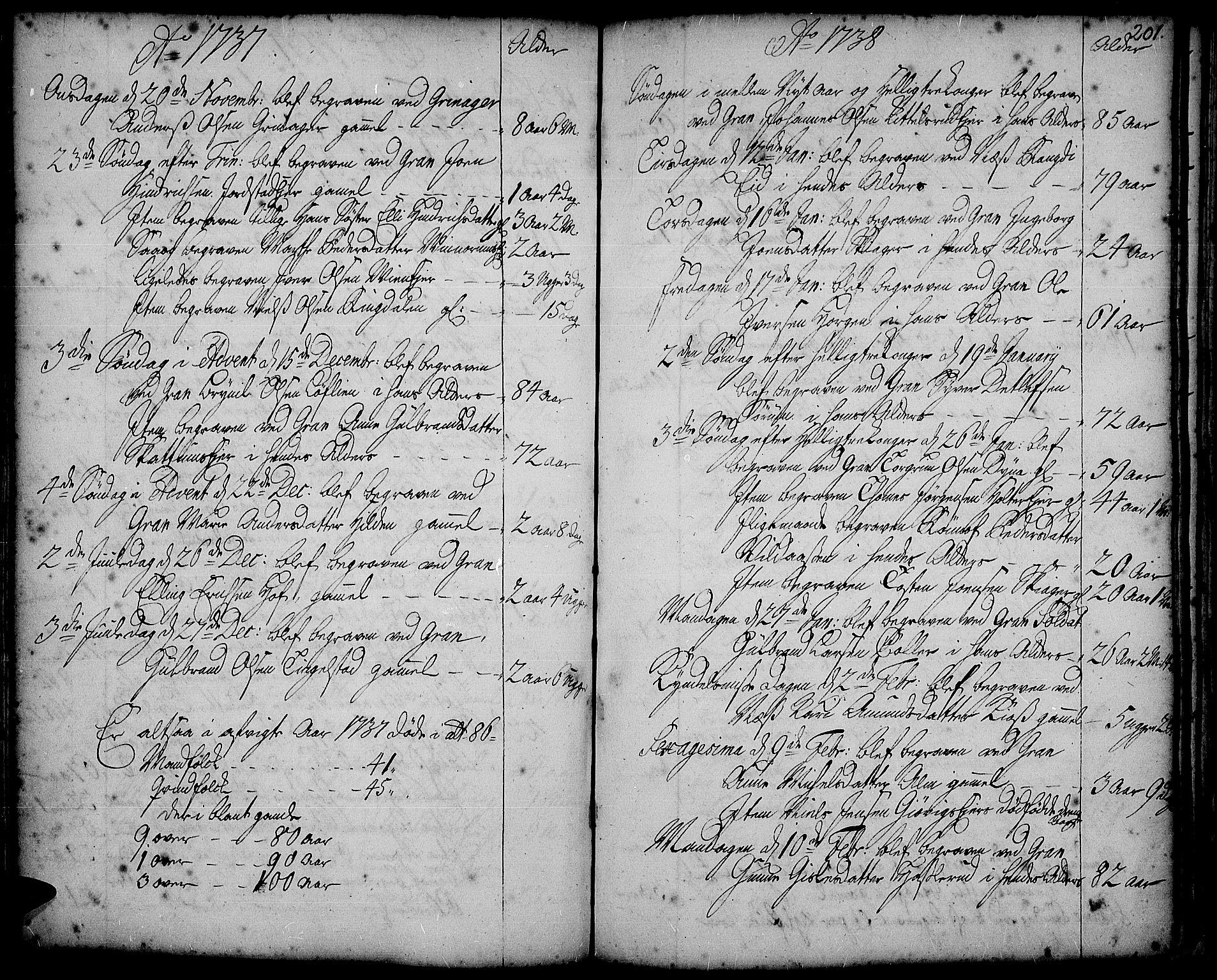 SAH, Gran prestekontor, Ministerialbok nr. 2, 1732-1744, s. 201