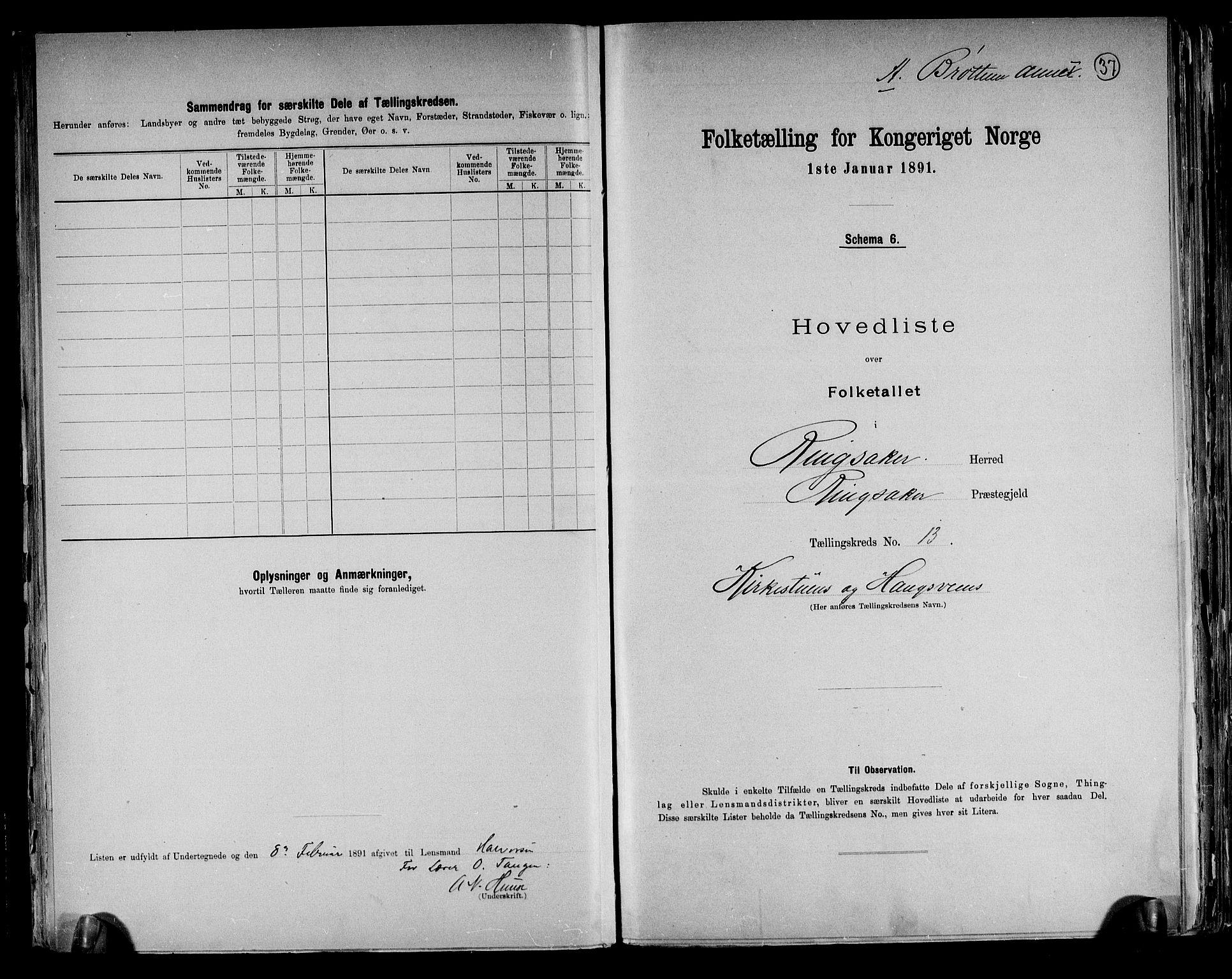 RA, Folketelling 1891 for 0412 Ringsaker herred, 1891, s. 37