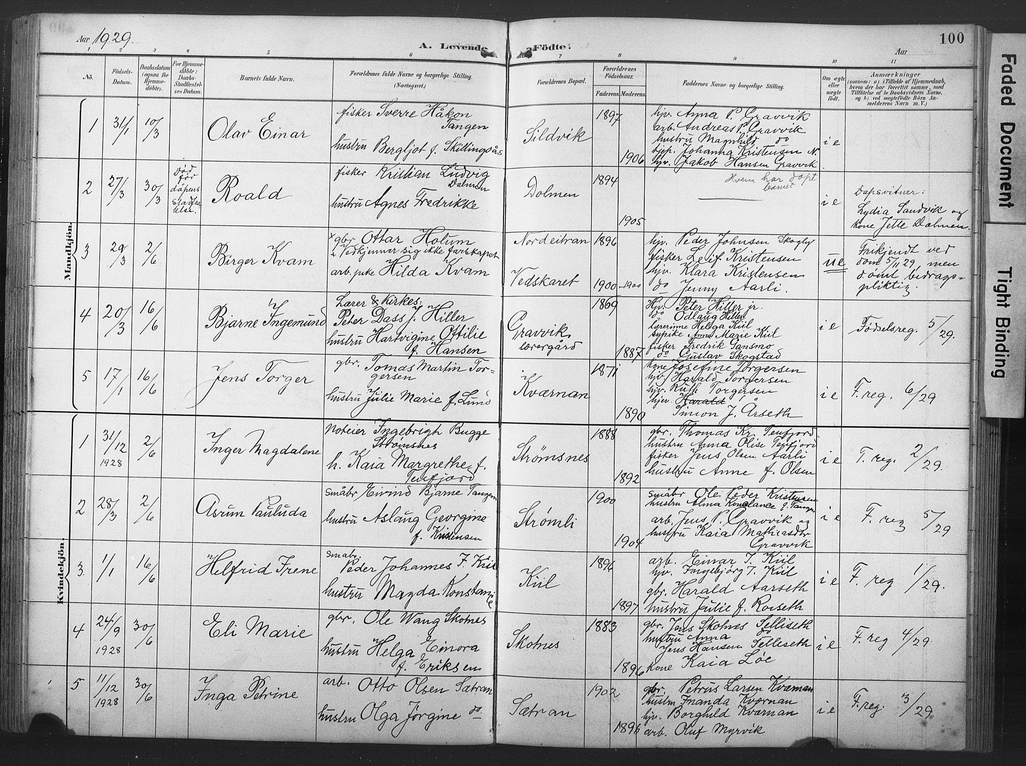 SAT, Ministerialprotokoller, klokkerbøker og fødselsregistre - Nord-Trøndelag, 789/L0706: Klokkerbok nr. 789C01, 1888-1931, s. 100