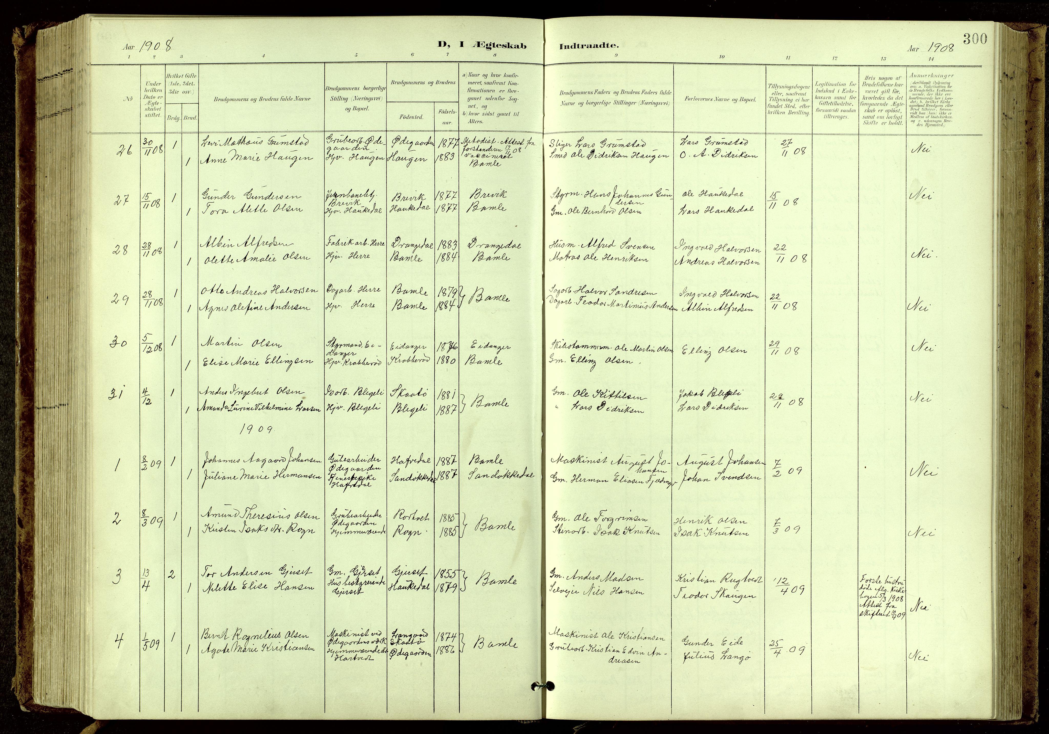 SAKO, Bamble kirkebøker, G/Ga/L0010: Klokkerbok nr. I 10, 1901-1919, s. 300