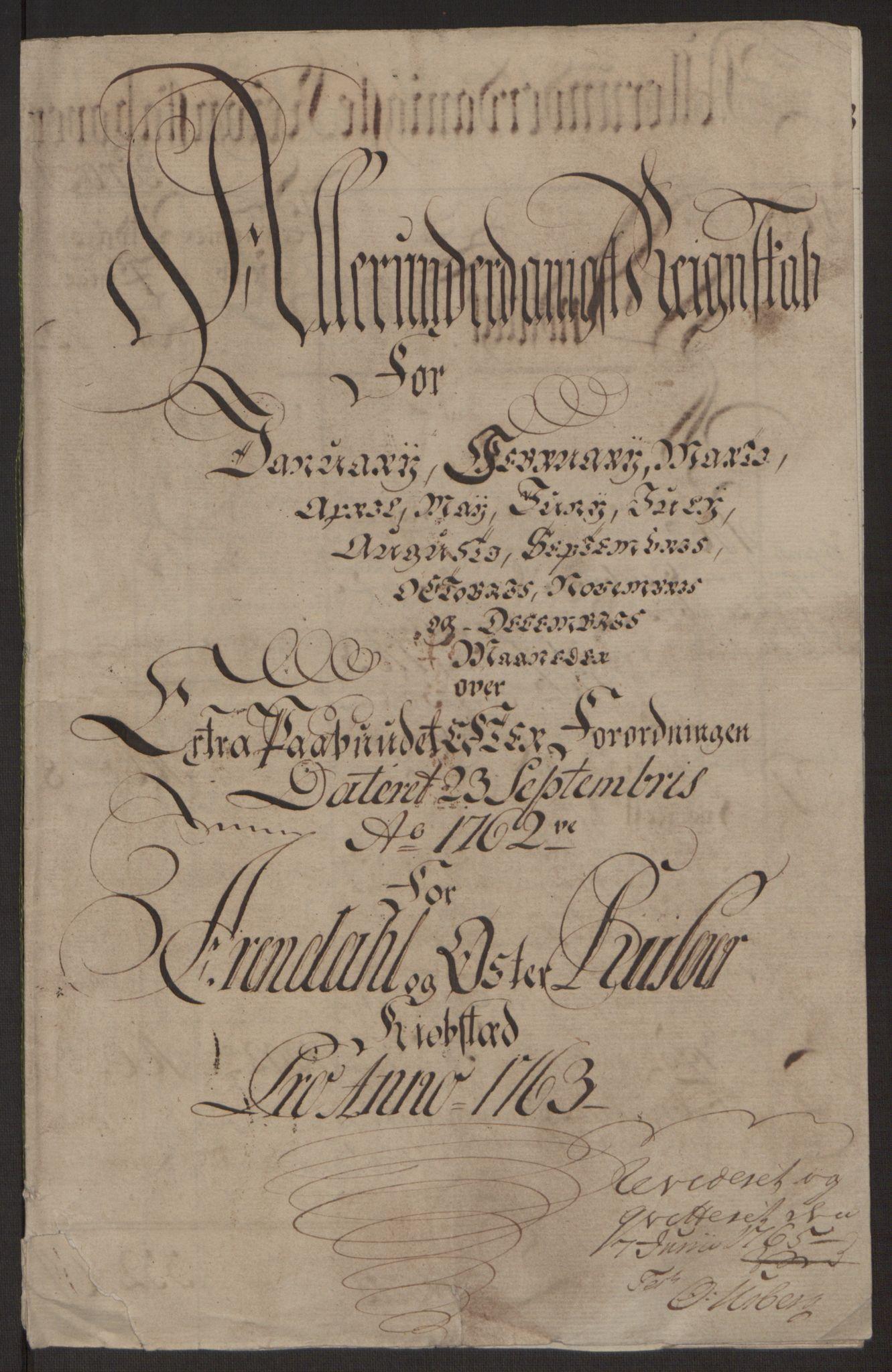 RA, Rentekammeret inntil 1814, Reviderte regnskaper, Byregnskaper, R/Rl/L0230: [L4] Kontribusjonsregnskap, 1762-1764, s. 92