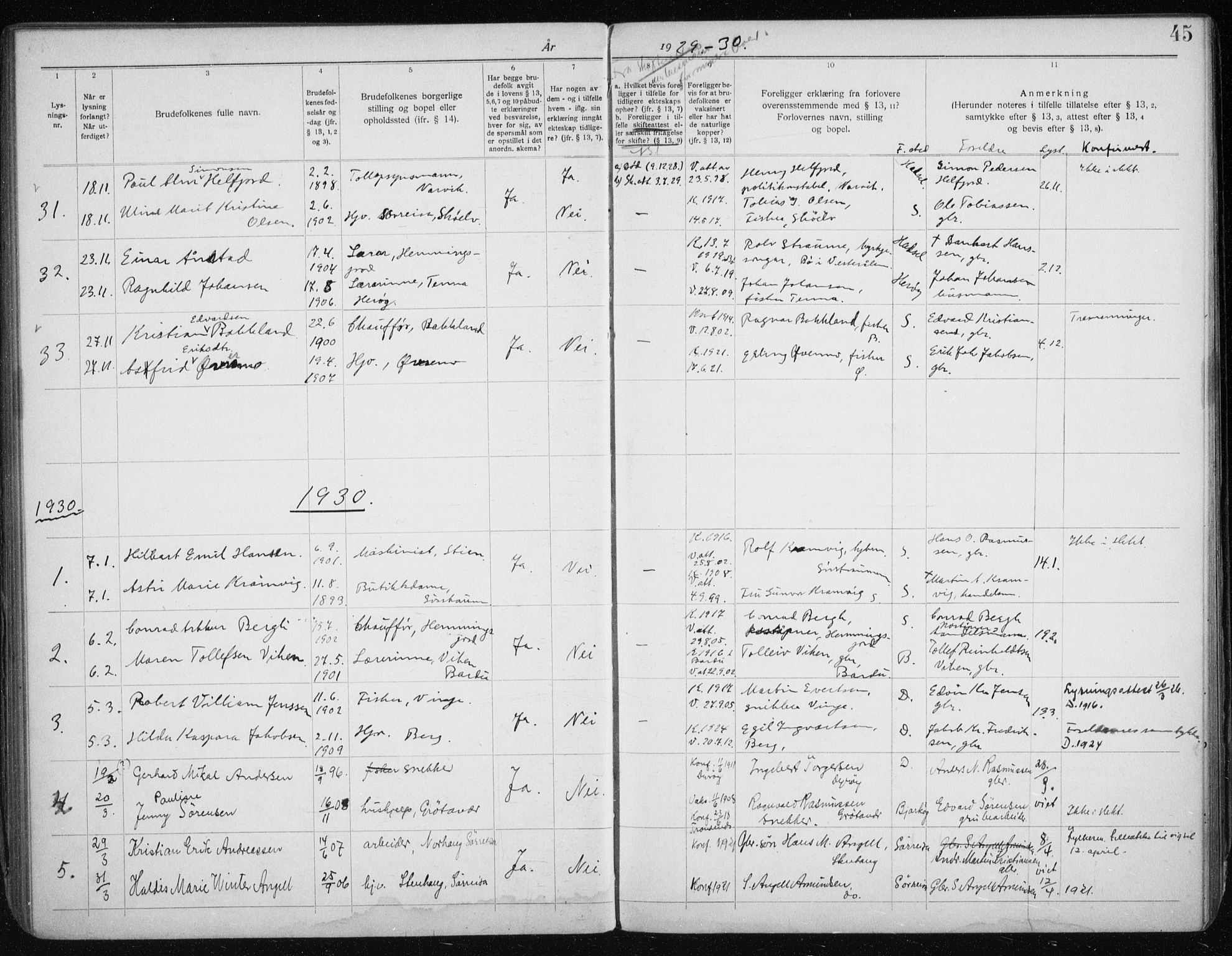 SATØ, Tranøy sokneprestkontor, J/Jc/L0053: Lysningsprotokoll nr. 53, 1919-1940, s. 45
