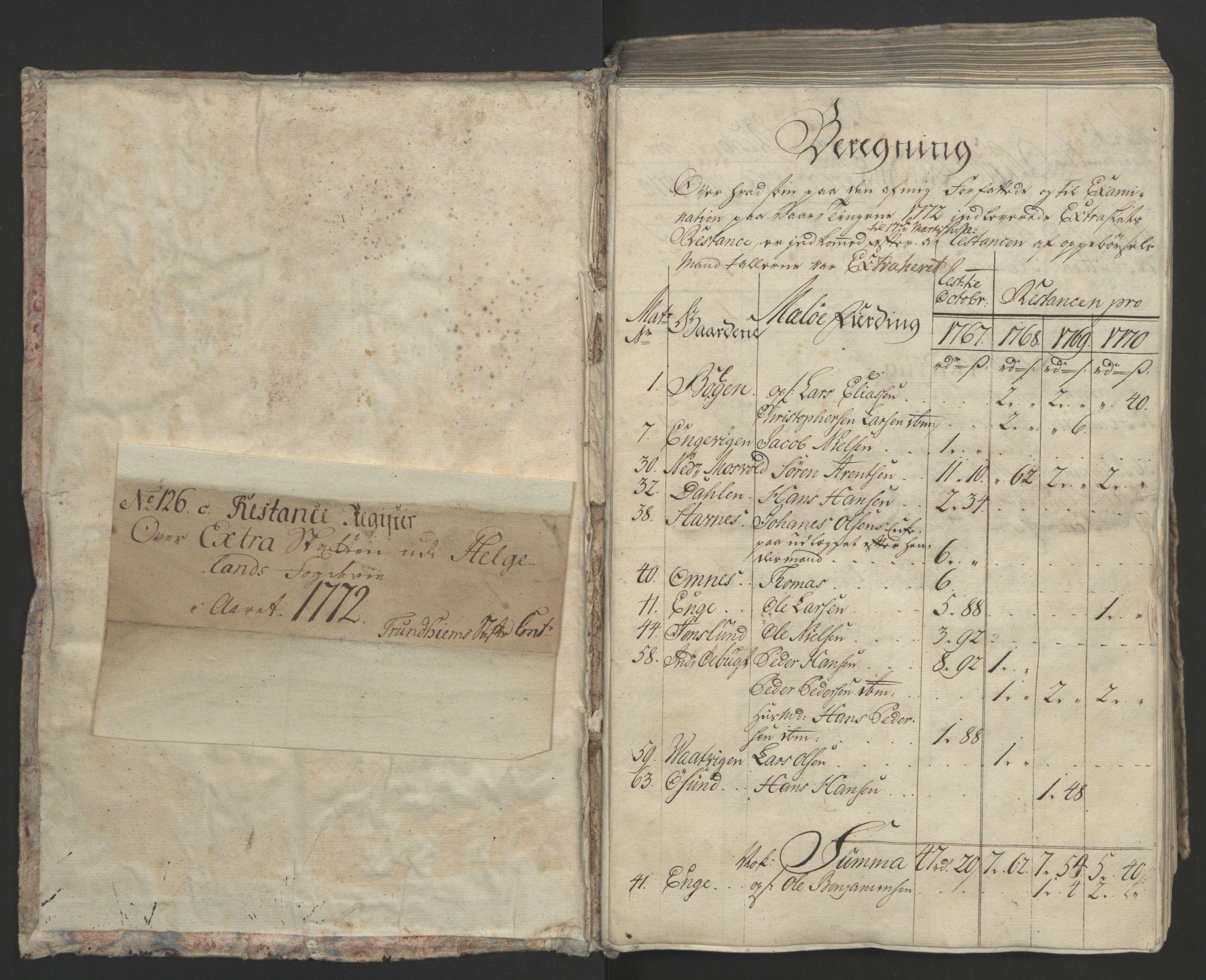 RA, Rentekammeret inntil 1814, Realistisk ordnet avdeling, Ol/L0023: [Gg 10]: Ekstraskatten, 23.09.1762. Helgeland (restanseregister), 1767-1772, s. 253