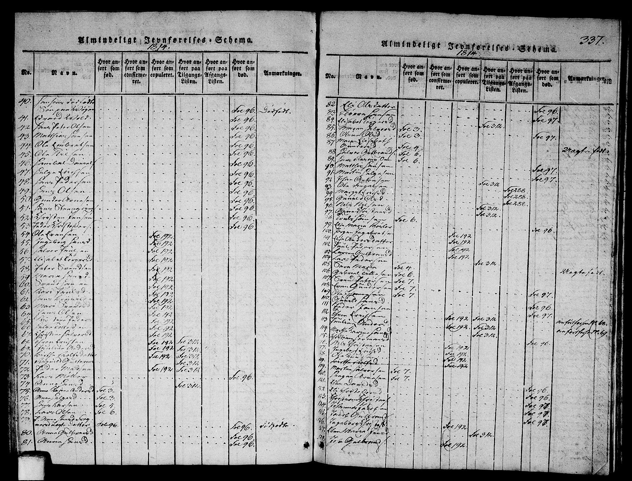 SAO, Asker prestekontor Kirkebøker, G/Ga/L0001: Klokkerbok nr. I 1, 1814-1830, s. 337